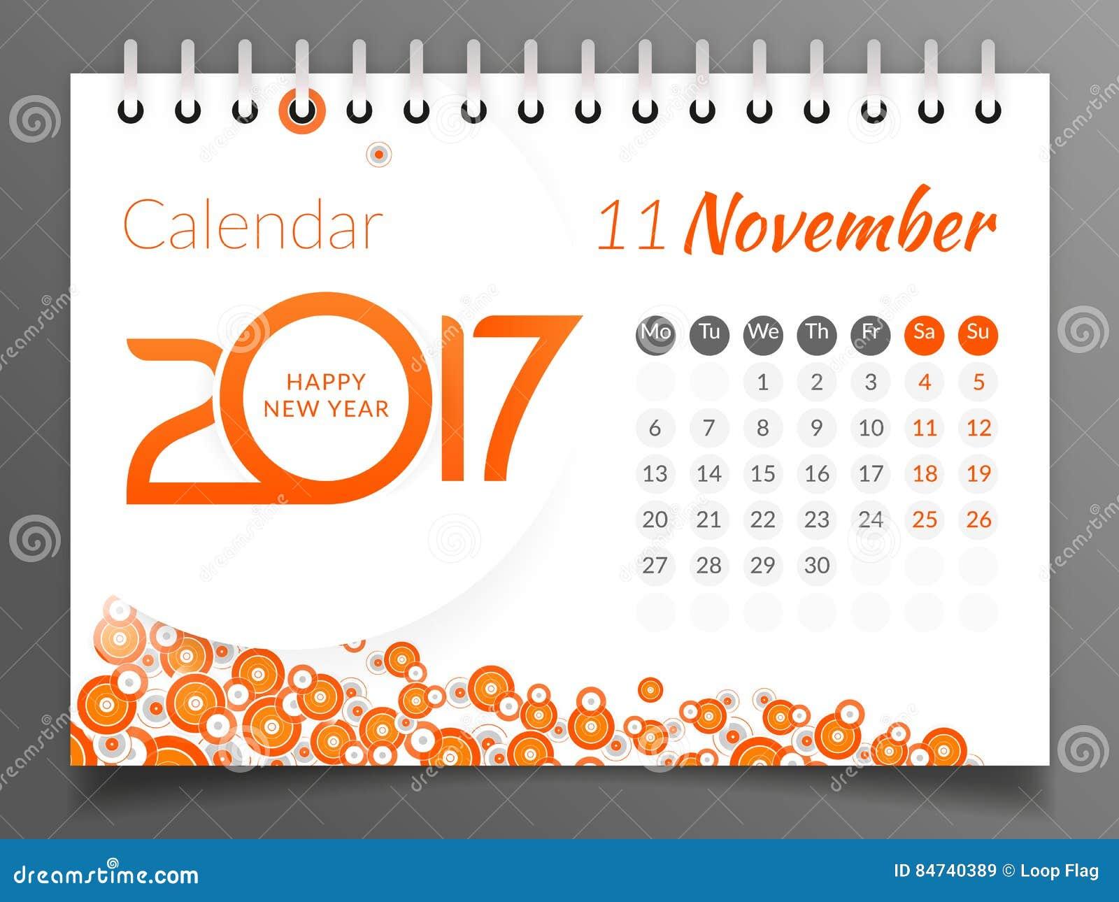 En noviembre de 2017 calendario 2017 ilustraci n del vector ilustraci n de papel julio 84740389 - Mes noviembre 2017 ...