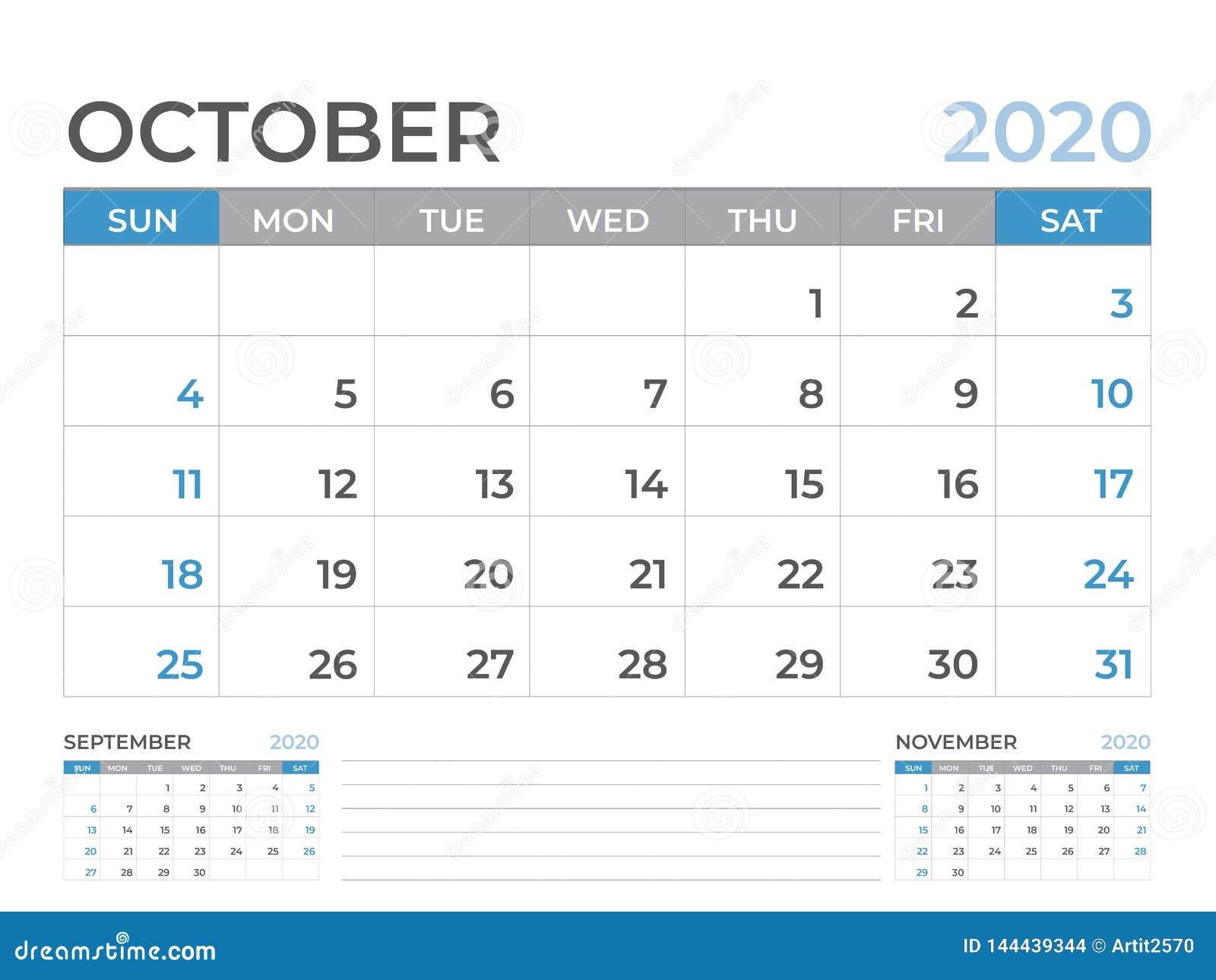 En octubre de 2020 plantilla del calendario, talla 8 x de la disposición de calendario de escritorio 6 pulgadas, diseño del plani