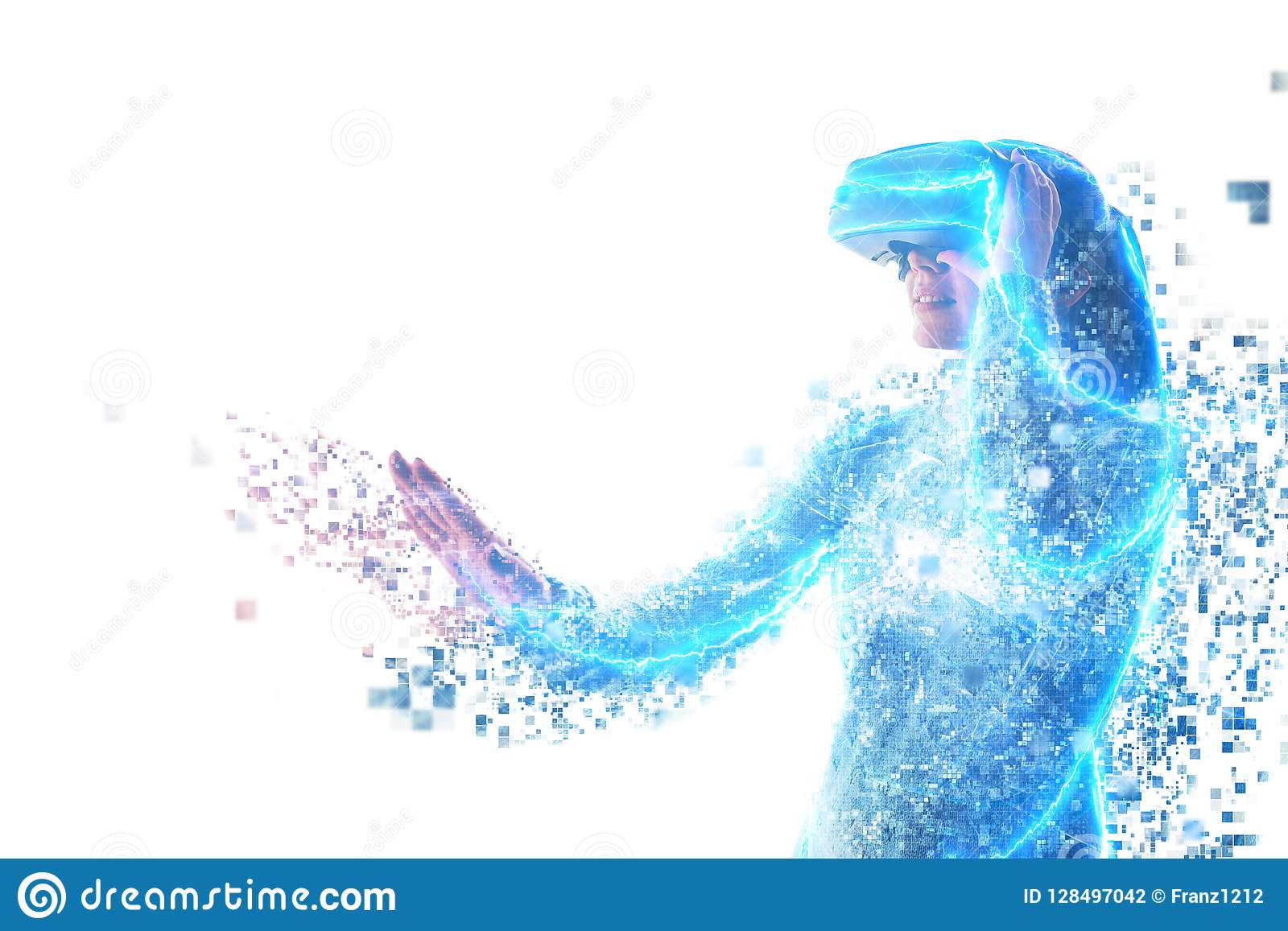En person i faktiska exponeringsglas flyger till PIXEL Framtida teknologibegrepp