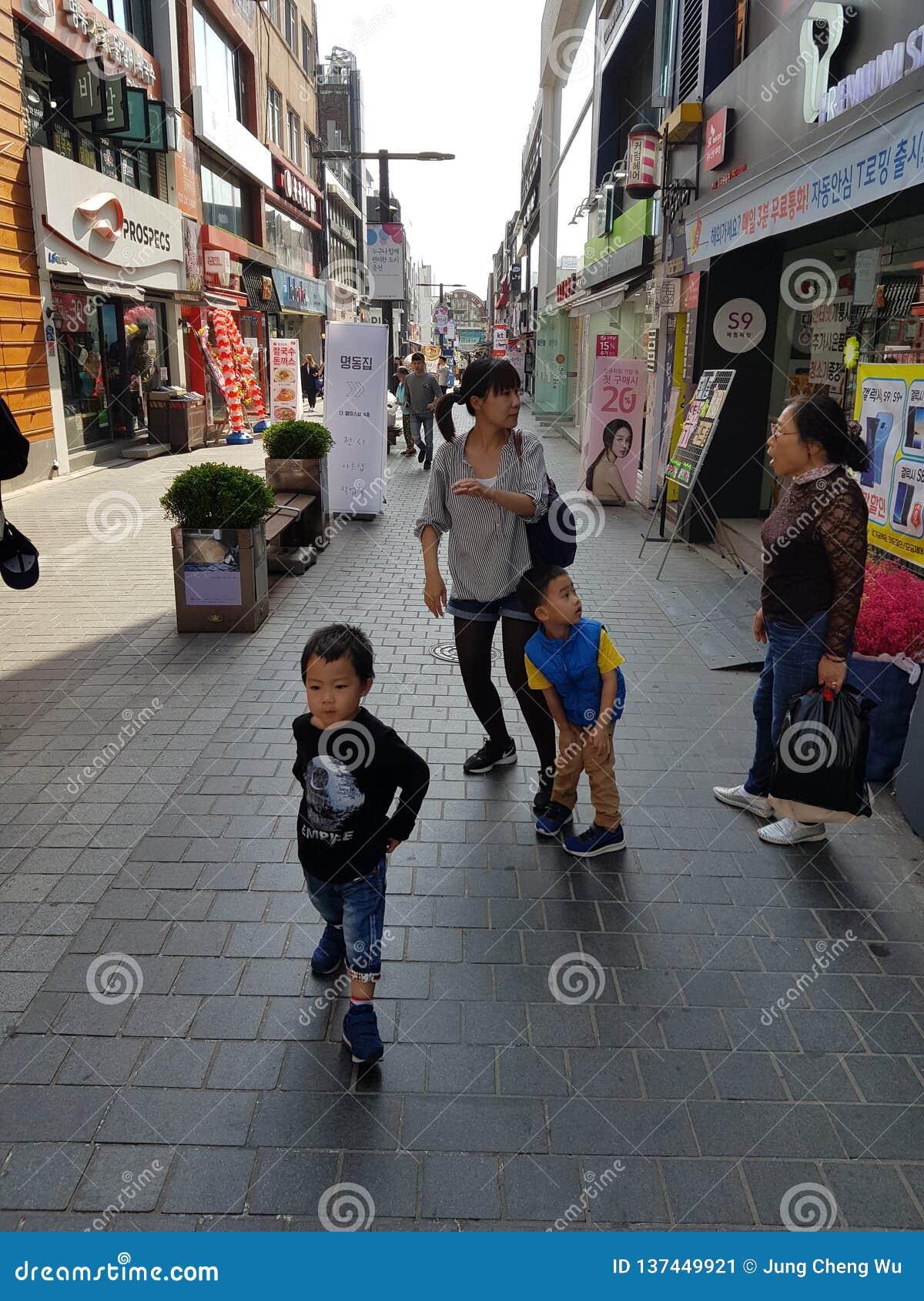 En plats på gatan av Sydkorea