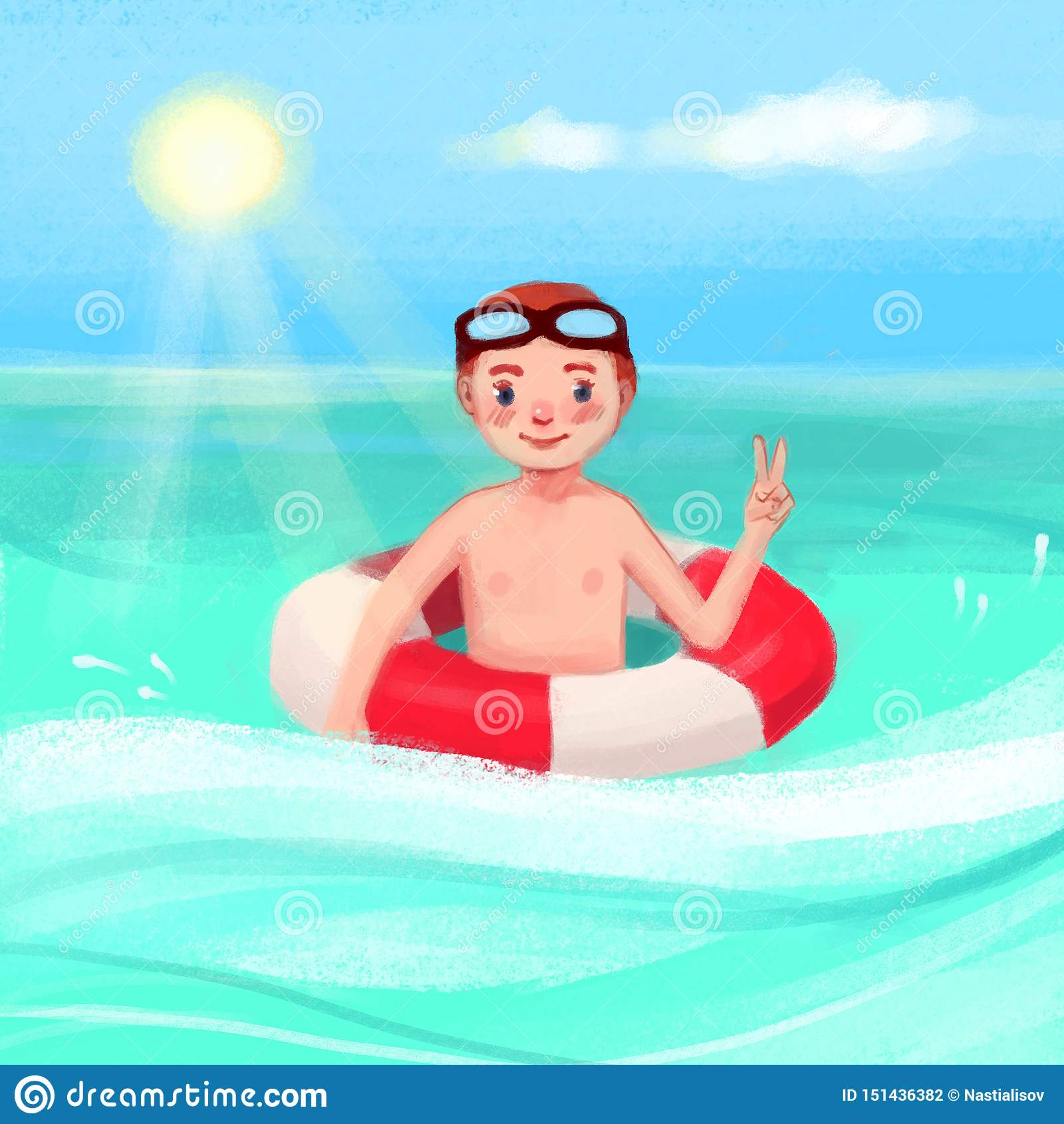 En pojke i havet med en livboj