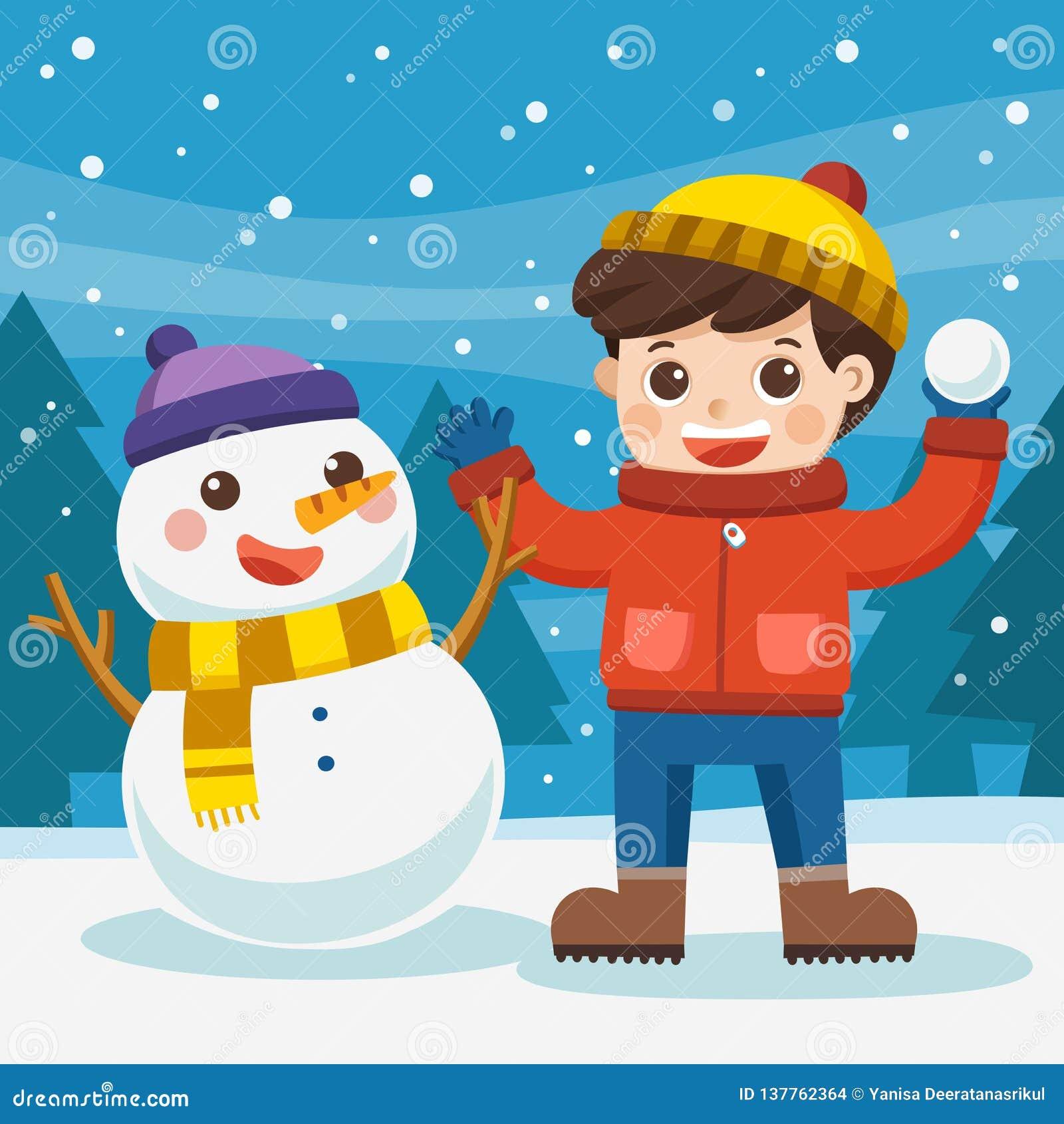 En pojke som har gyckel med snögubben på en snöig vinter, går