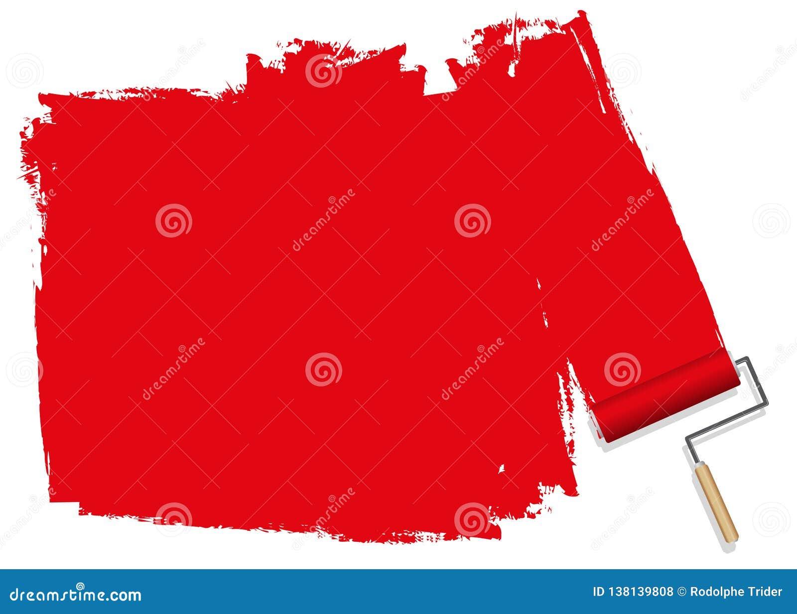 En röd bakgrund som målas med en rulle