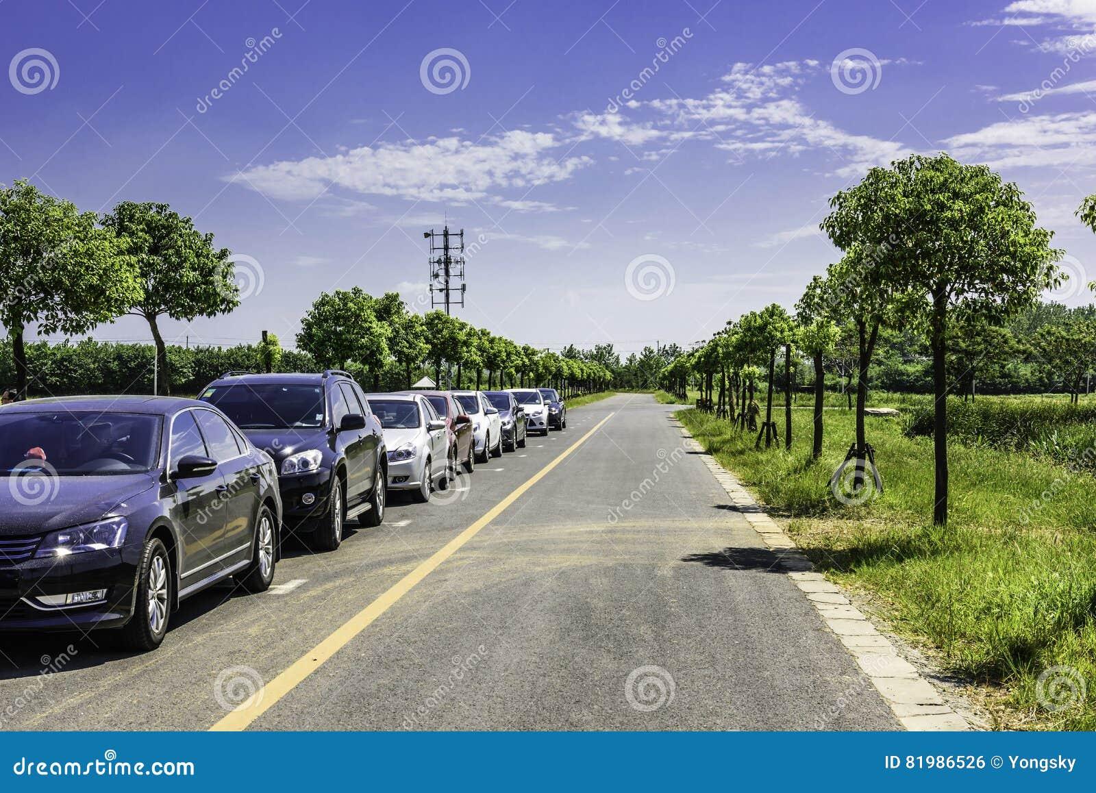 En rad av bilar på vägen