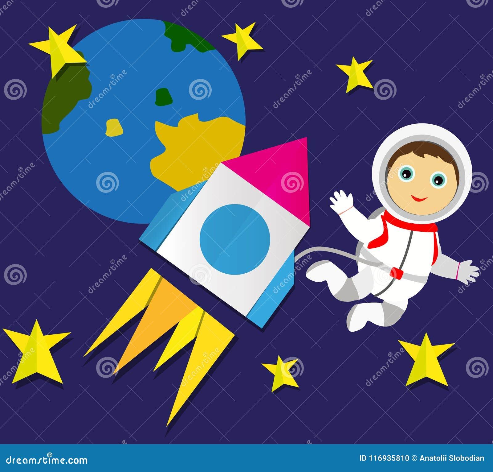 En raket med en astronaut och stjärnor applejacken
