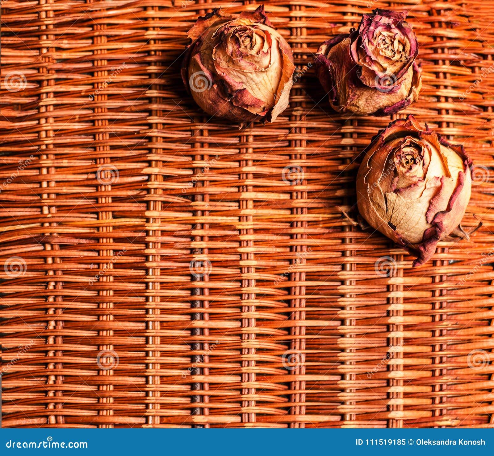 En rottingbakgrund med tre torkade rosor