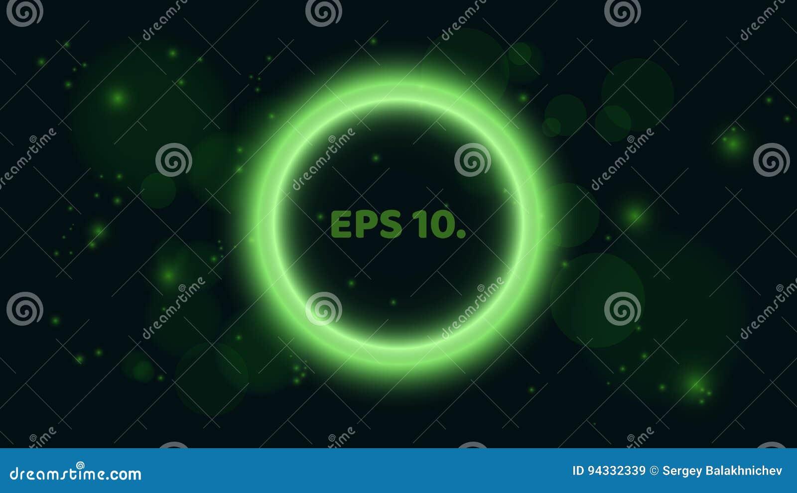 En runda, glödande grönt baner på en svart bakgrund Baner i form av en bubbla Ett ställe för dina projekt brigham