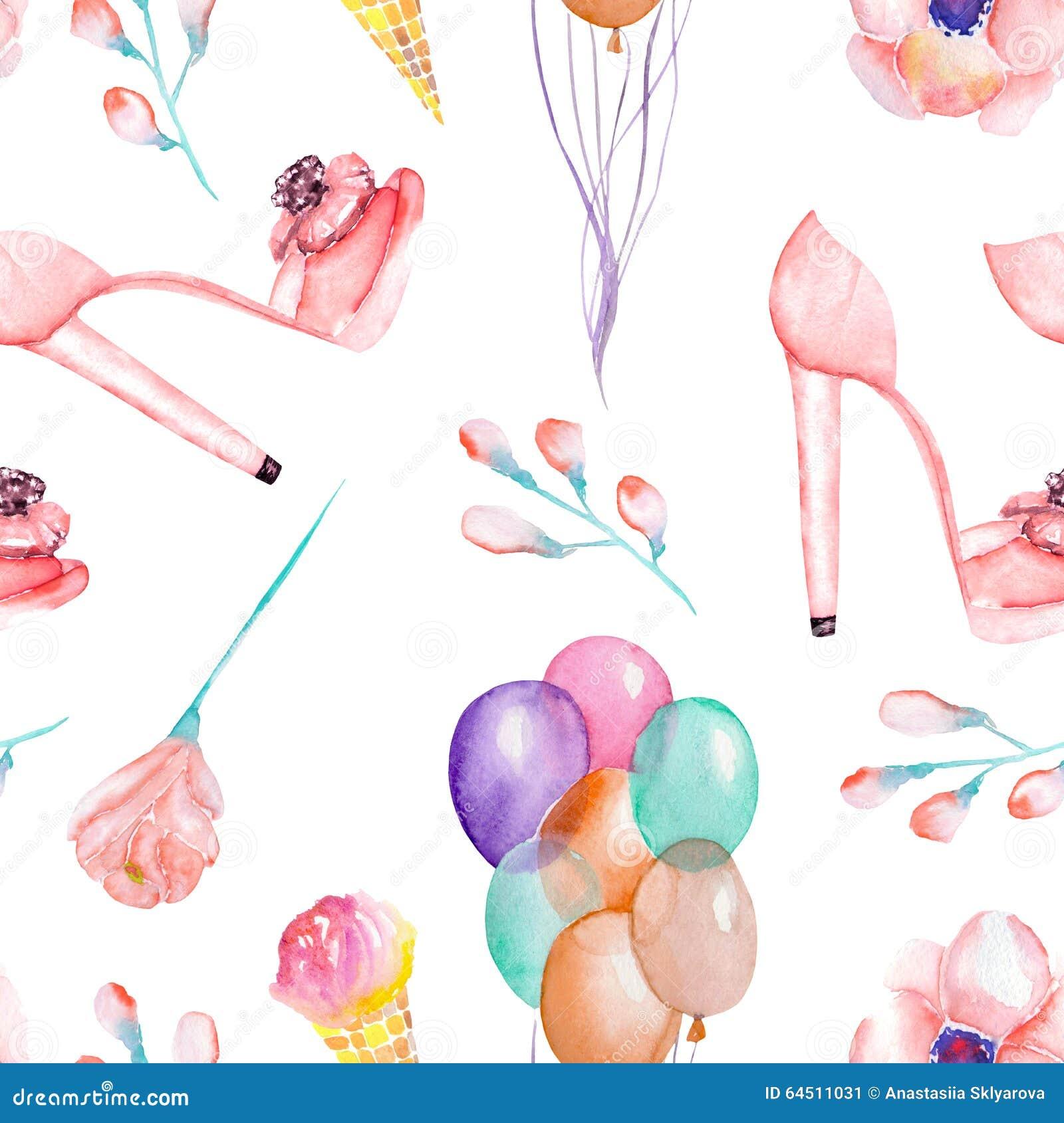En sömlös vattenfärgmodell med kvinnornas romantiska beståndsdelar: rosa glass, rosblomma, luftballonger och rosa skonolla för kv