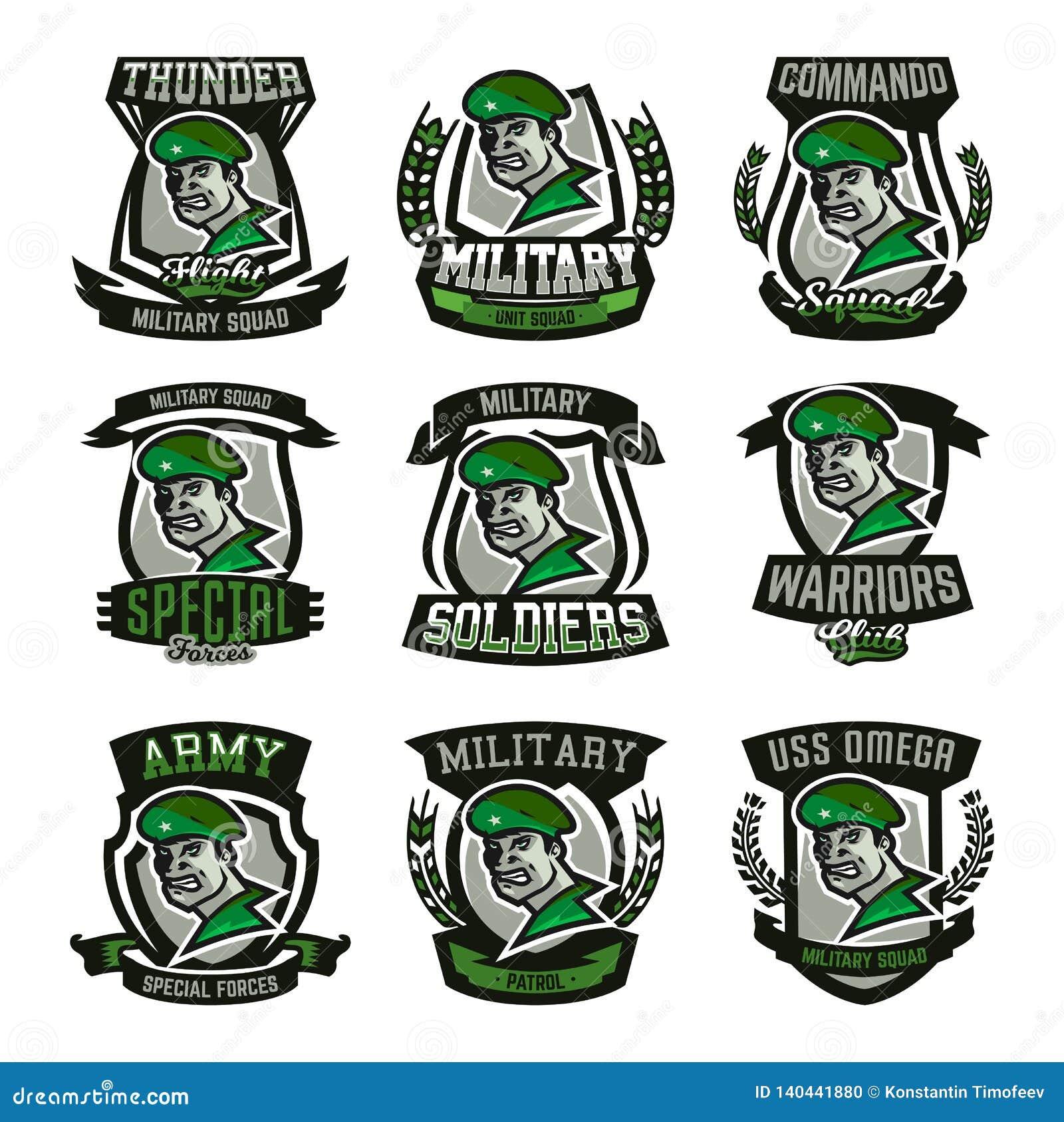 En samling av emblem, logoer, militär man