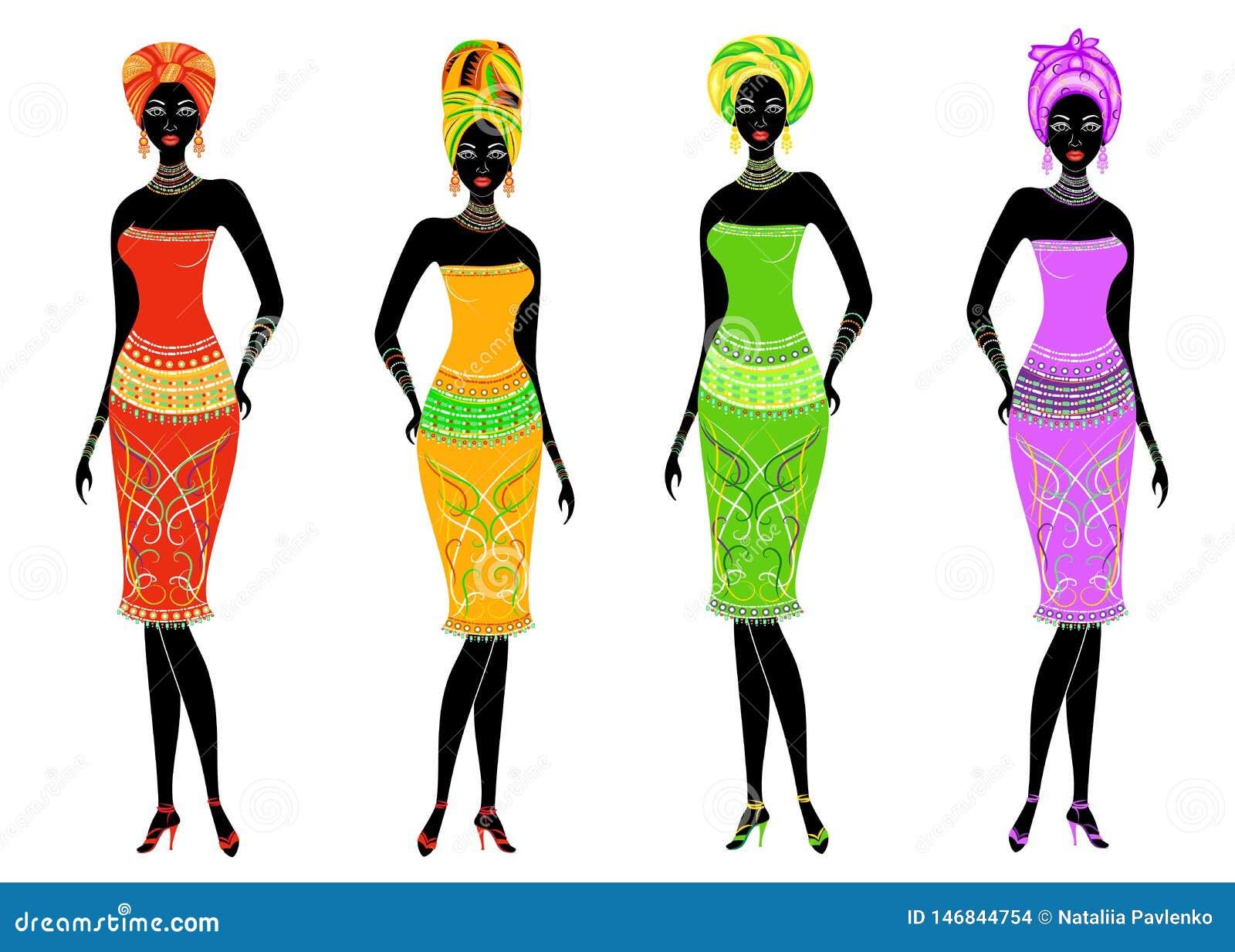 En samling av h?rliga afrikansk amerikandamer Flickor har ljus kl?der, en turban p? deras huvud Kvinnor ?r unga och slanka