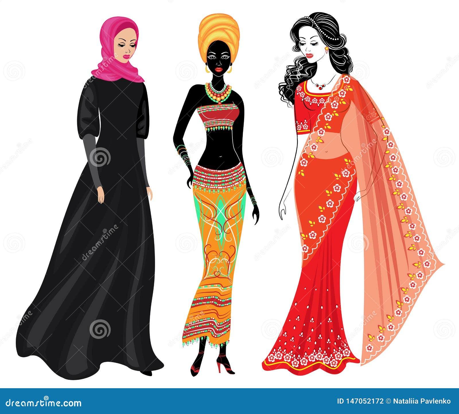 En samling av h?rliga damer Ett muslimskt, en afrikansk amerikanflicka och en indisk kvinna Nationell kl?der st?ll in vektorn