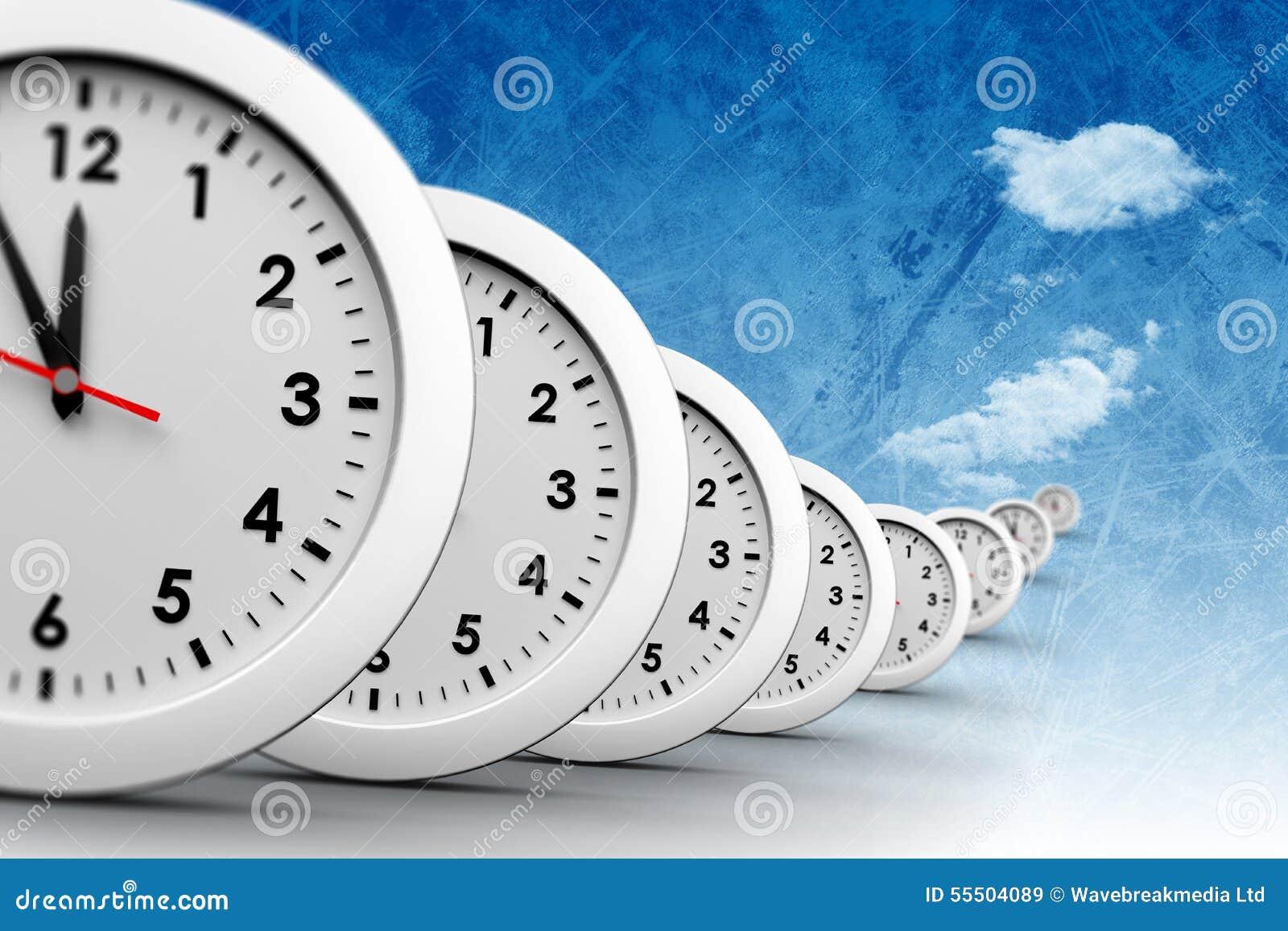 En sammansatt bild av klockor