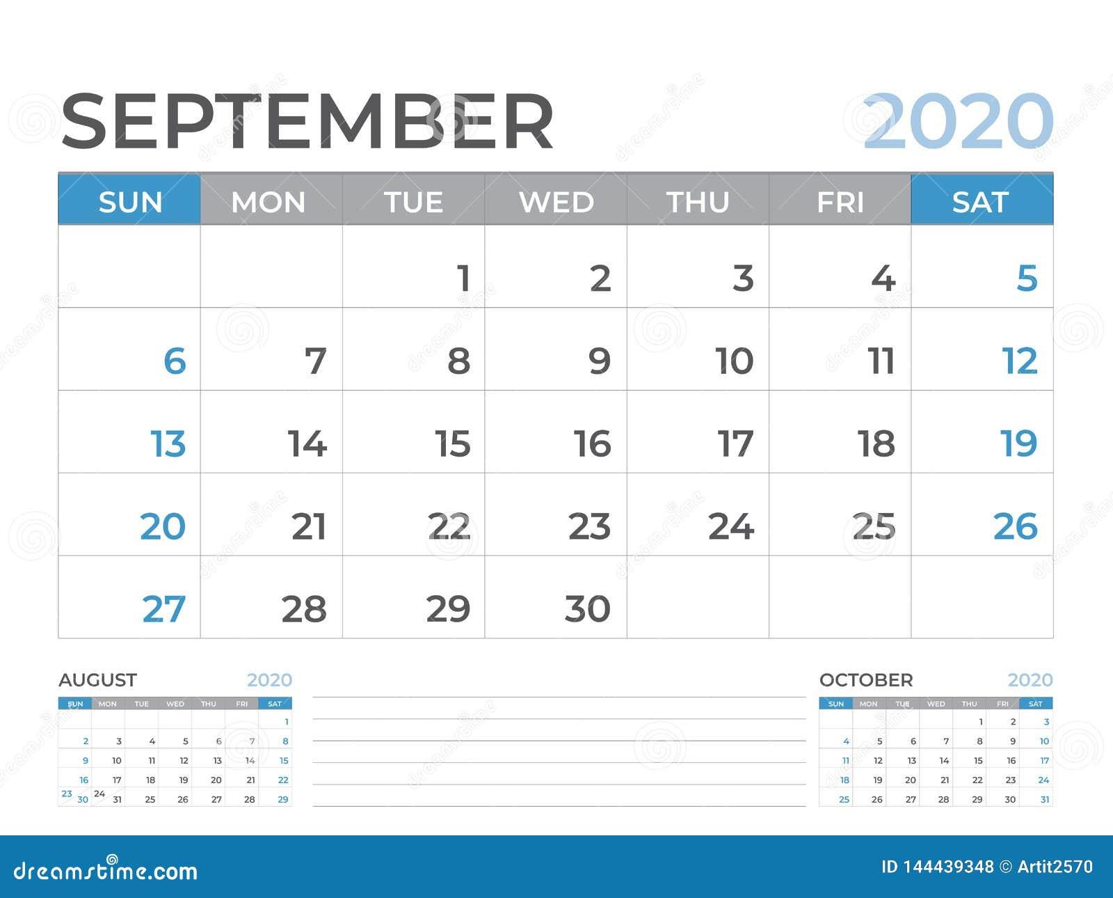 En septiembre de 2020 plantilla del calendario, talla 8 x de la disposición de calendario de escritorio 6 pulgadas, diseño del pl