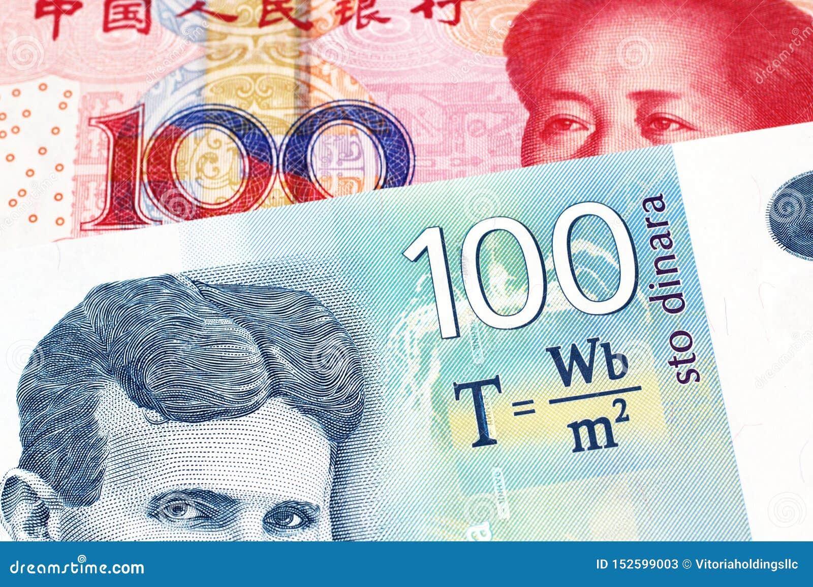 En serbisk dinaranmärkning med en kinesisk yuanräkning
