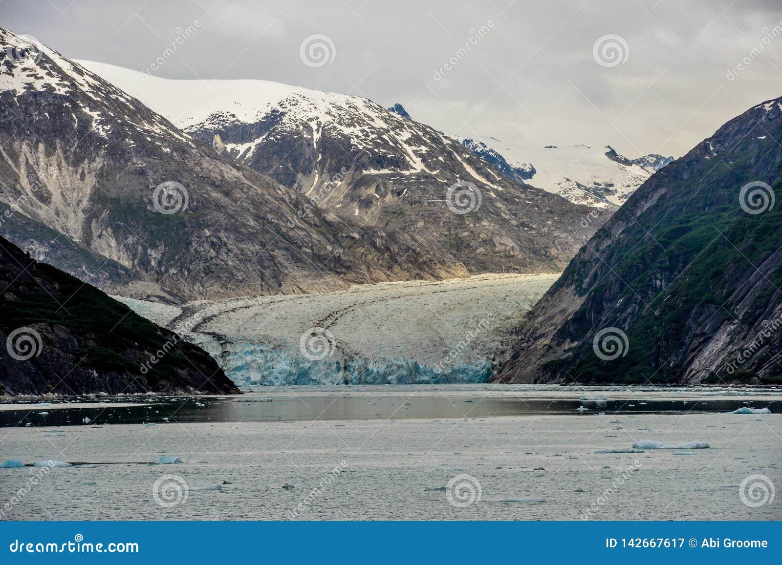 En sikt ner en fjord till en bedöva glaciär i Alaska