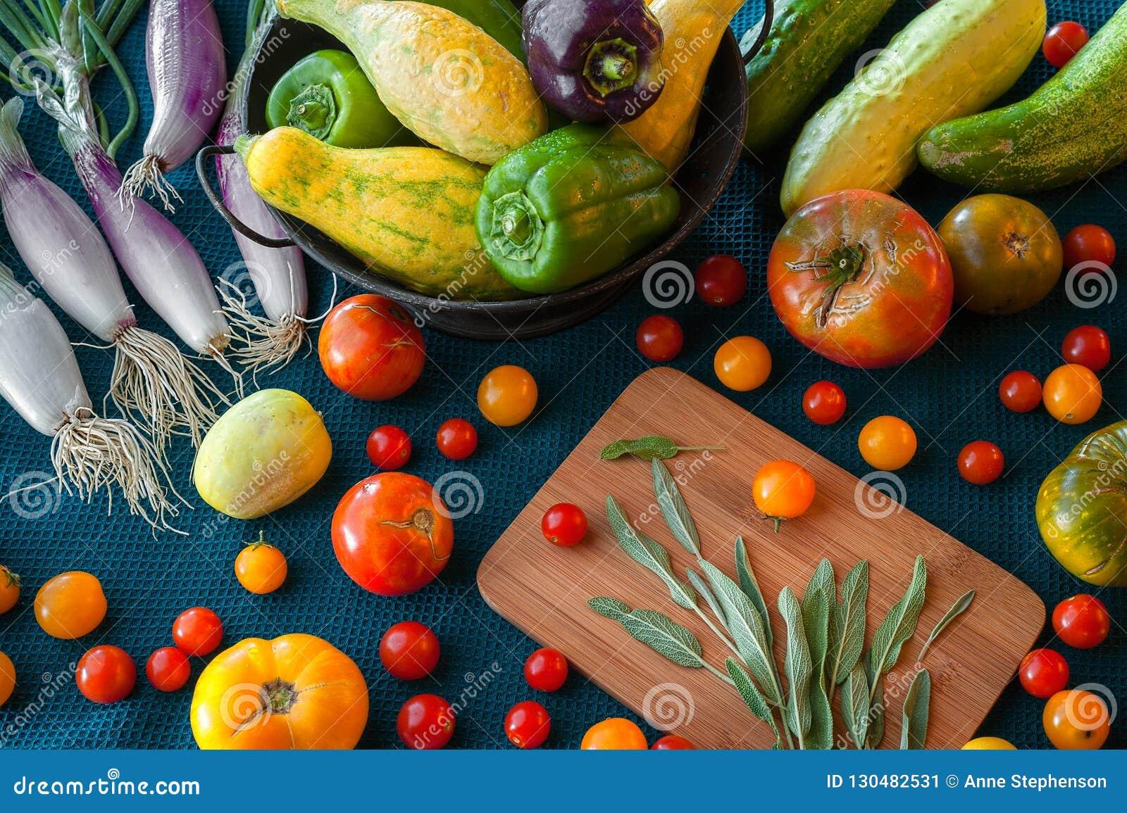 En skottpengar av ny jordbruksprodukter inklusive lökar, tomaten, squash, peppar, vis man och gurkan på en blå kulör bakgrund för