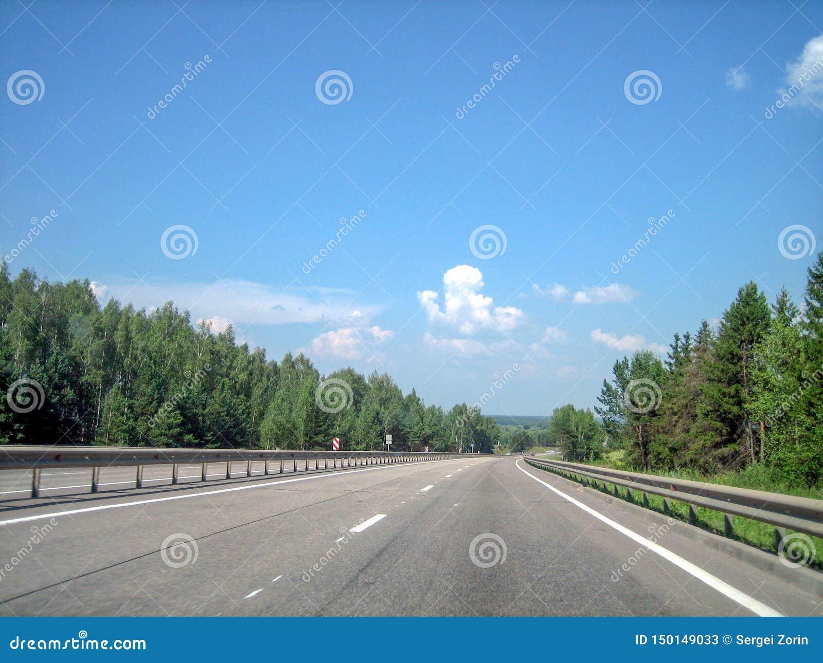 En slät plan huvudväg kör framåtriktat till och med skogen