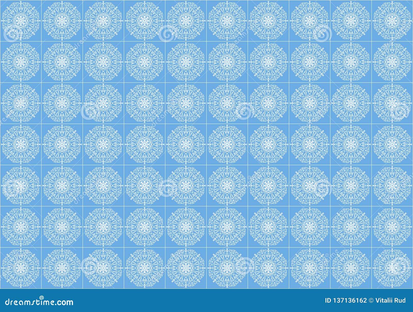 En stiliserad vit prydnad på en blå tegelplatta för golvet