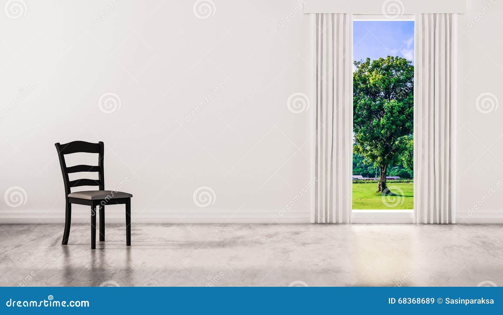 En Stol På Betong Polerade Golvet Med Fönstret Och En Naturlig ...