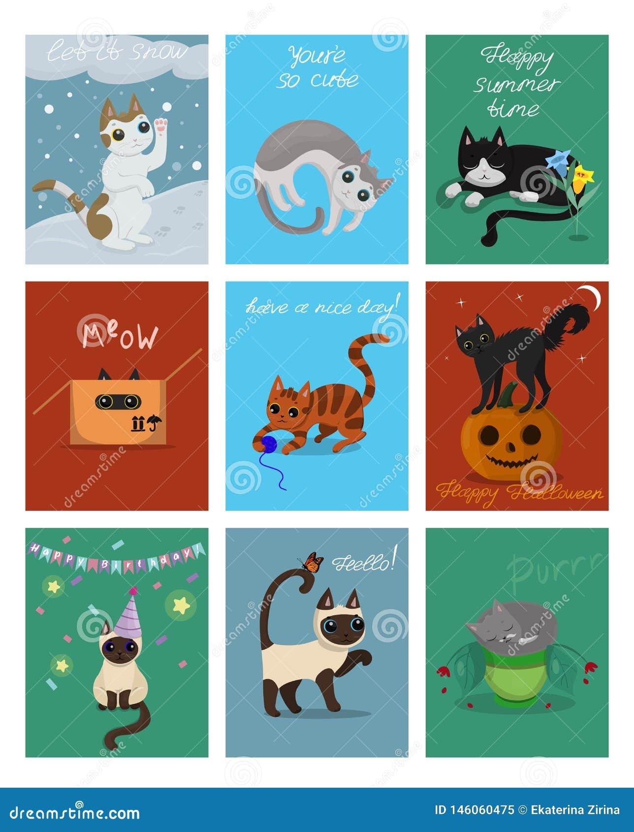 En stor uppsättning av nio kort med kattungar Vykort för jul, allhelgonaafton, födelsedag och andra Vektorn f?ster ihop konst Det