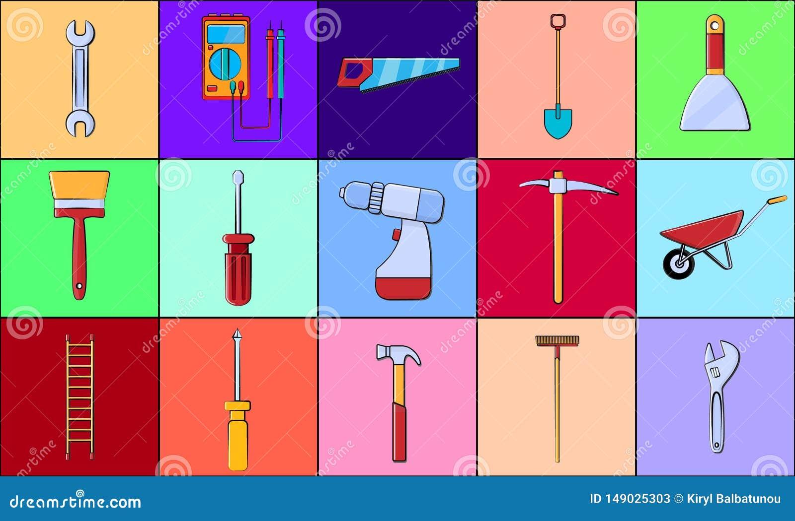 En stor uppsättning av objekt av konstruktionshjälpmedelsymboler för hem- reparationsskruvmejslar, skiftnycklar, hammare, stegar,