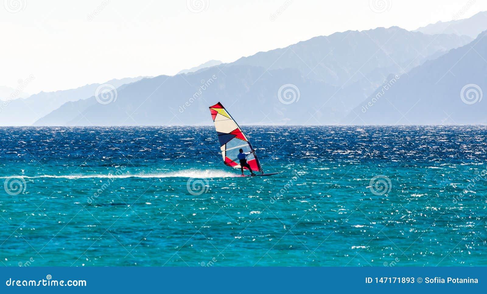 En surfare rider i R?da havet mot bakgrunden av en stenig kust i Egypten