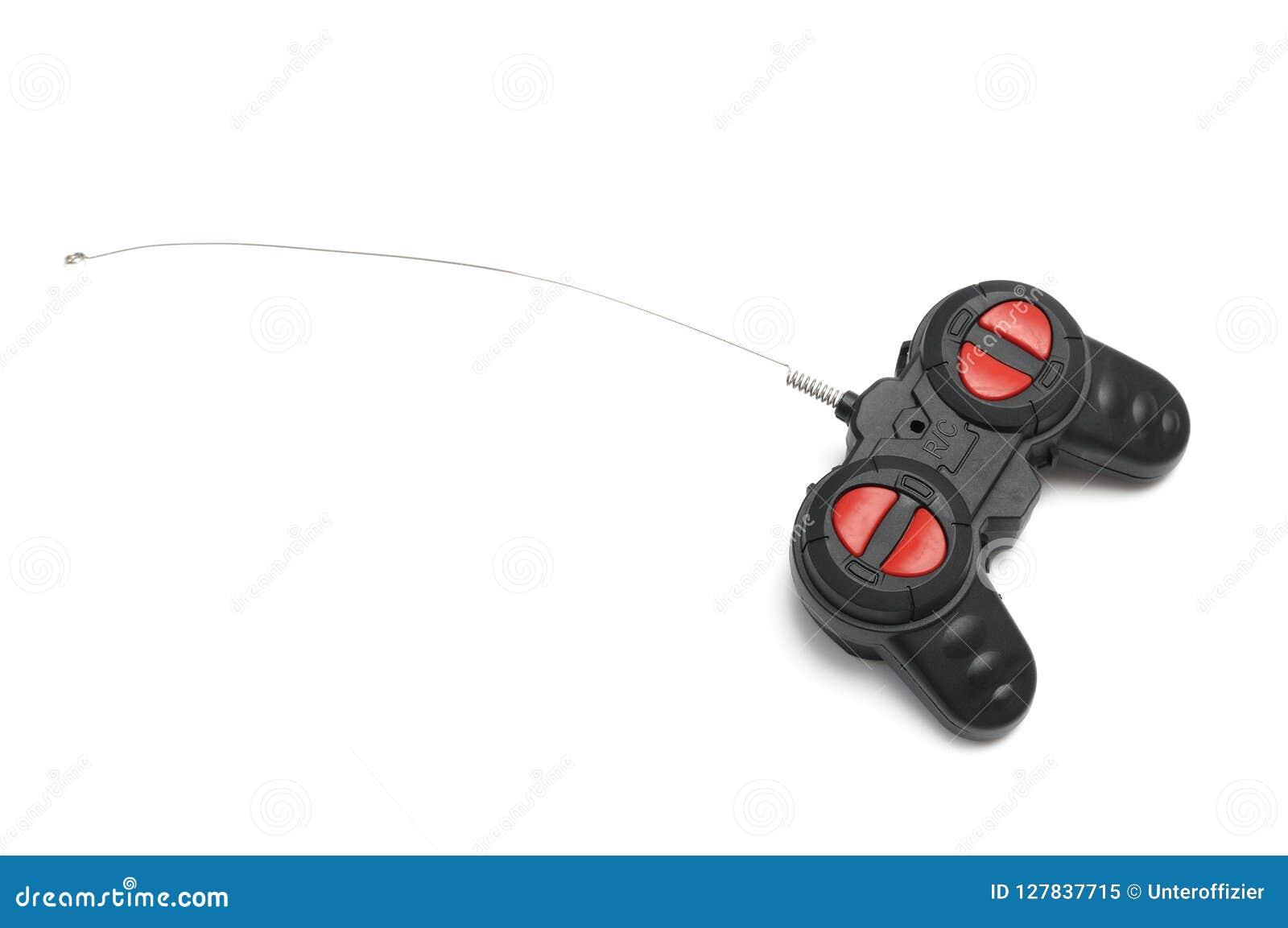 En svart avlägsen kontrollant för radiokontroll RC med röda knappar och en fin antenn