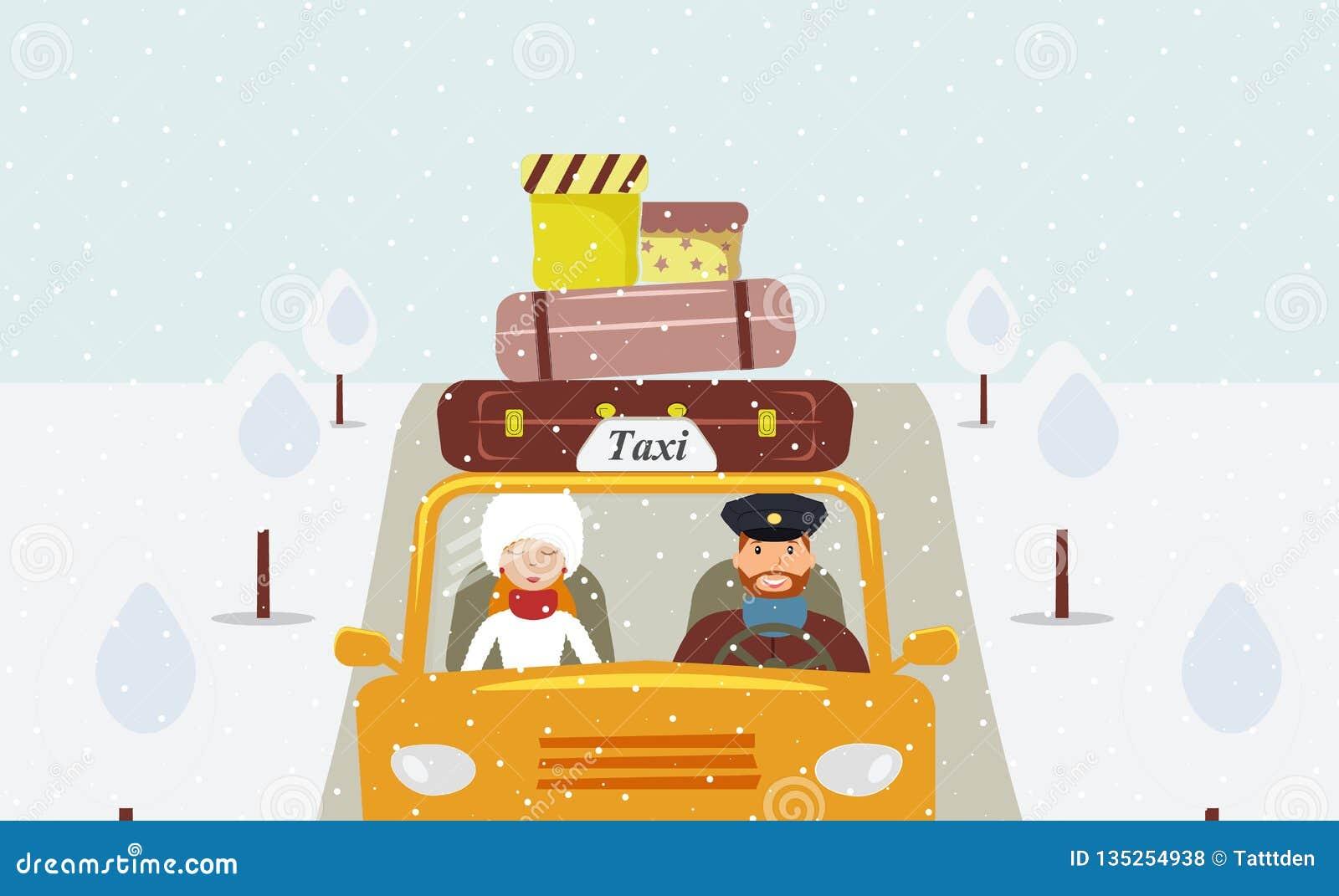 En taxichaufför i ett enhetligt lock som kör en gul taxi och en härlig passagerare för ung kvinna i en vitt pälshatt och pälslag