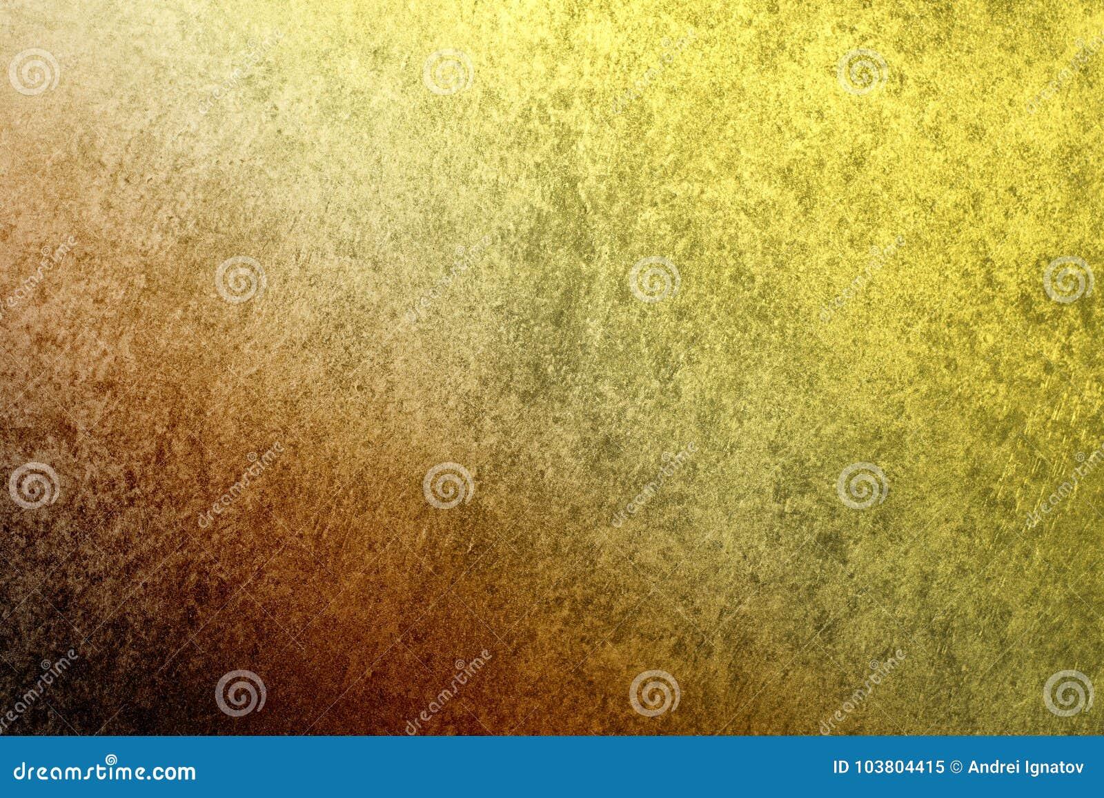 En texturerad tappningstuckaturbakgrund med ett mörker - slösa till den guld- gula lutningen