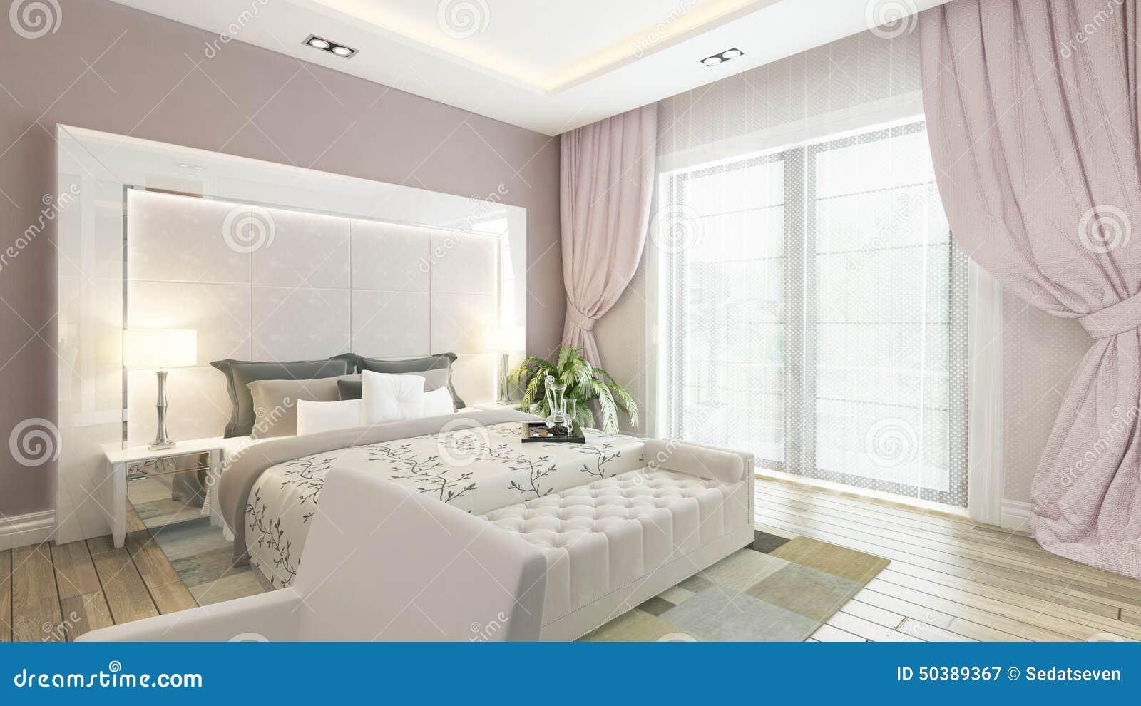 En tolkning 3d av det moderna sovrummet med den rosa väggen stock ...