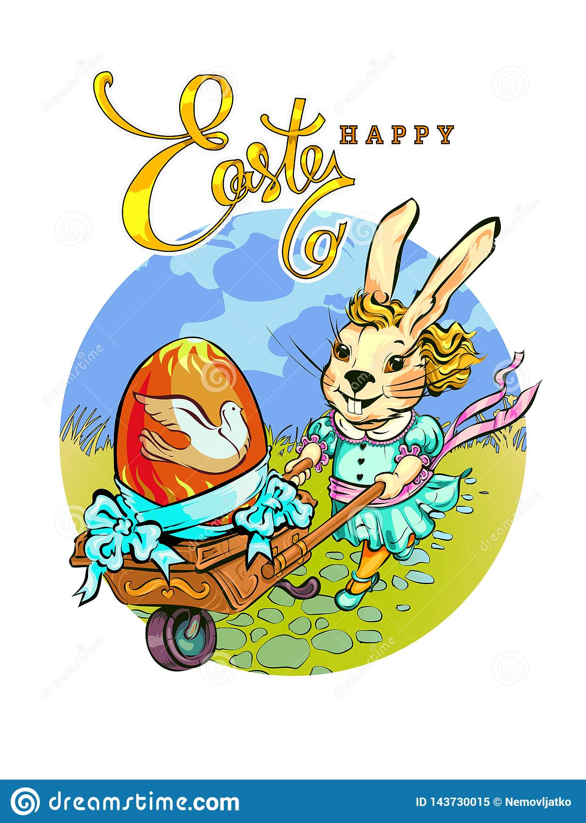 En trendig kanin rullar en tappningvagn