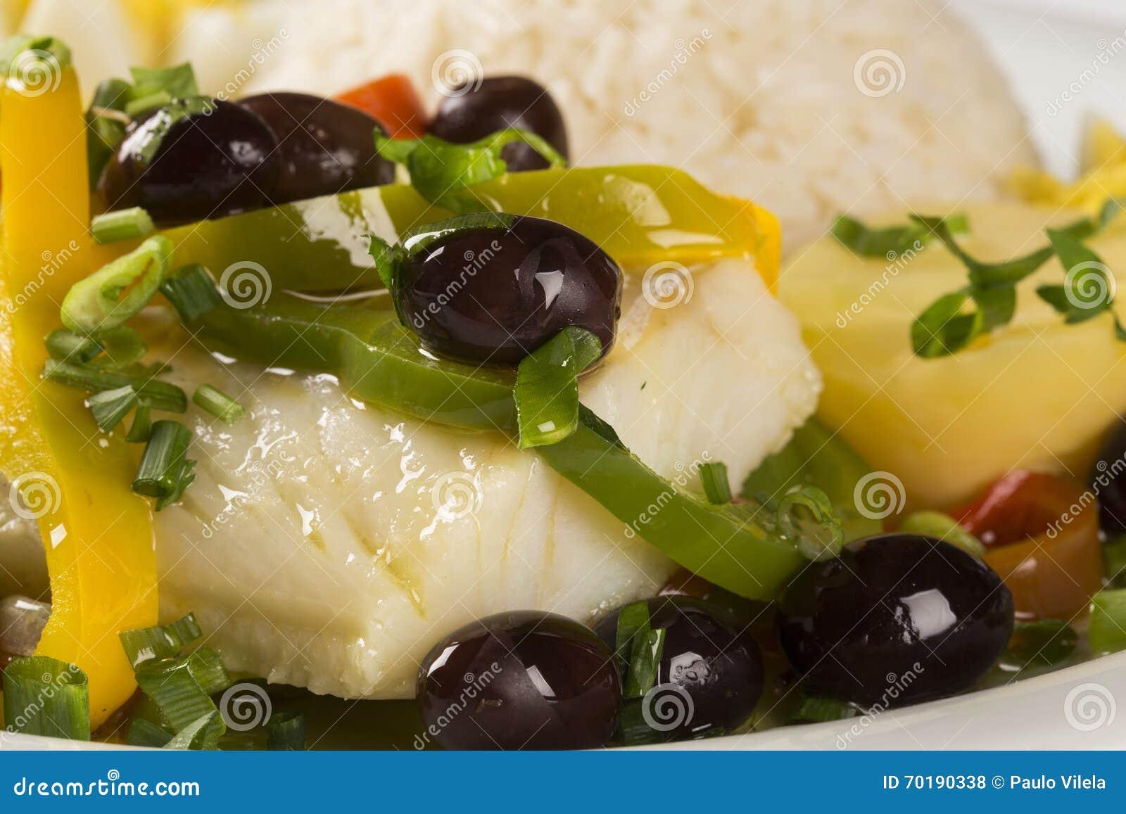 En typisk portugisisk maträtt med codfish kallade Bacalhau gör Porto