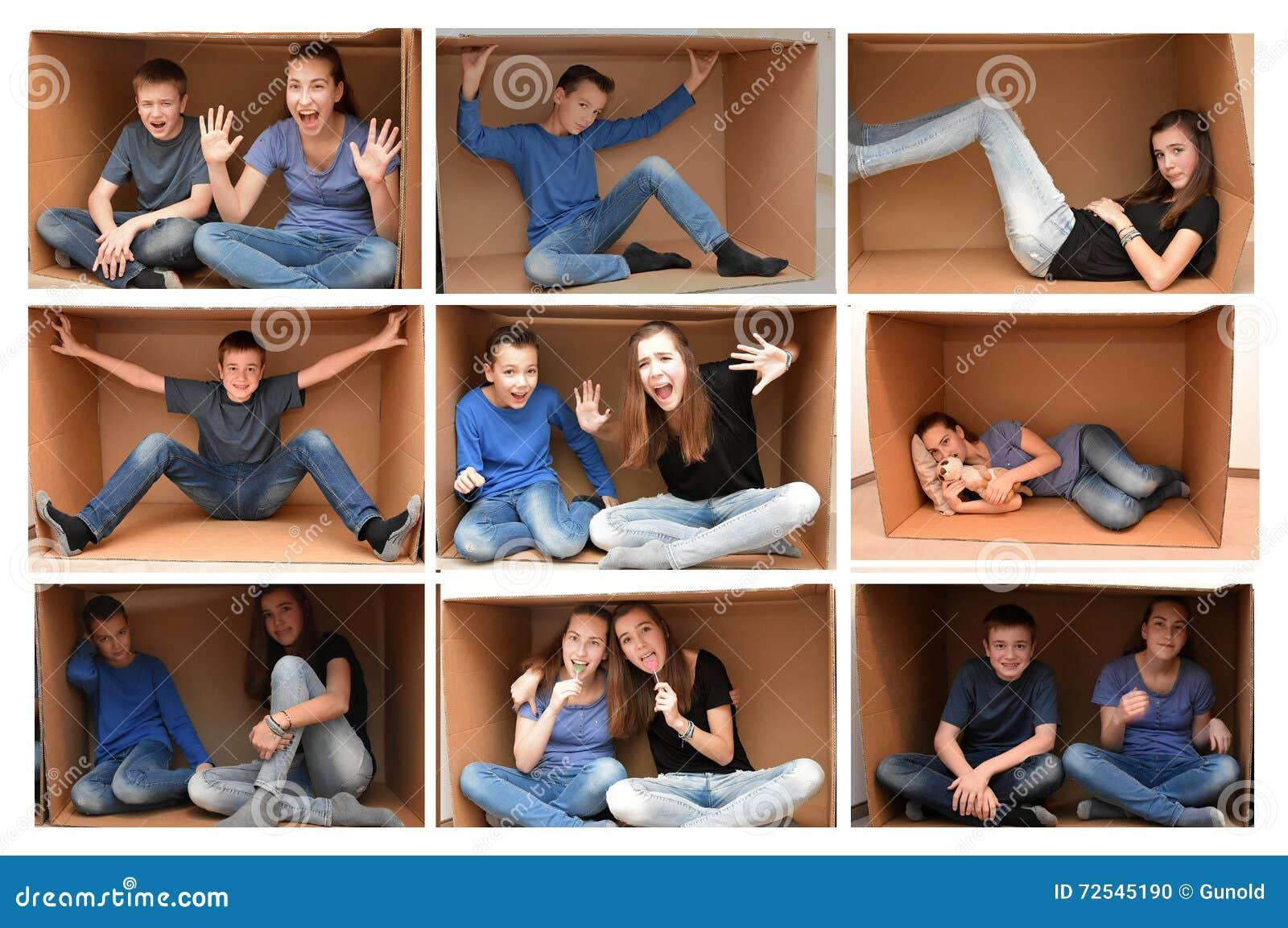 En una caja de cartón