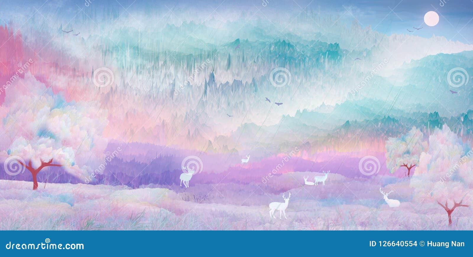 En una noche hermosa, los ciervos del sika juegan en el paisaje pintoresco debajo de los cerezos