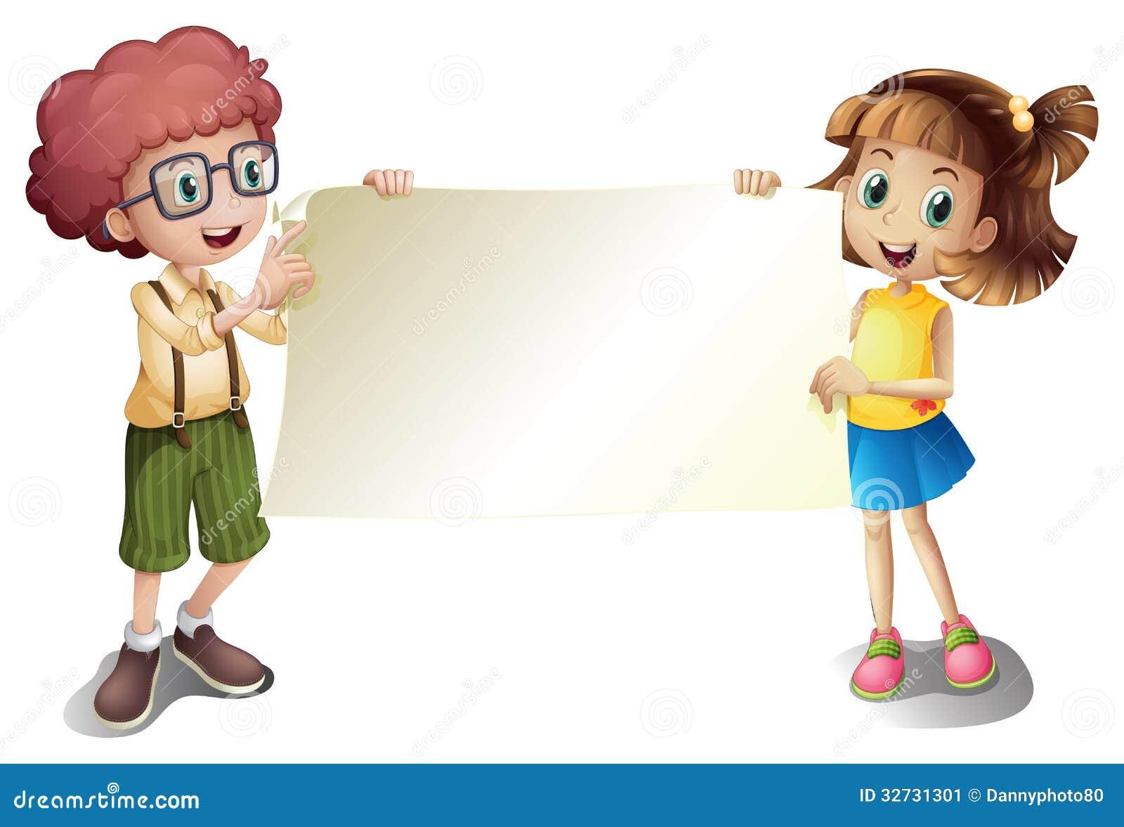 En ung flicka och en ung pojke som rymmer en tom skylt