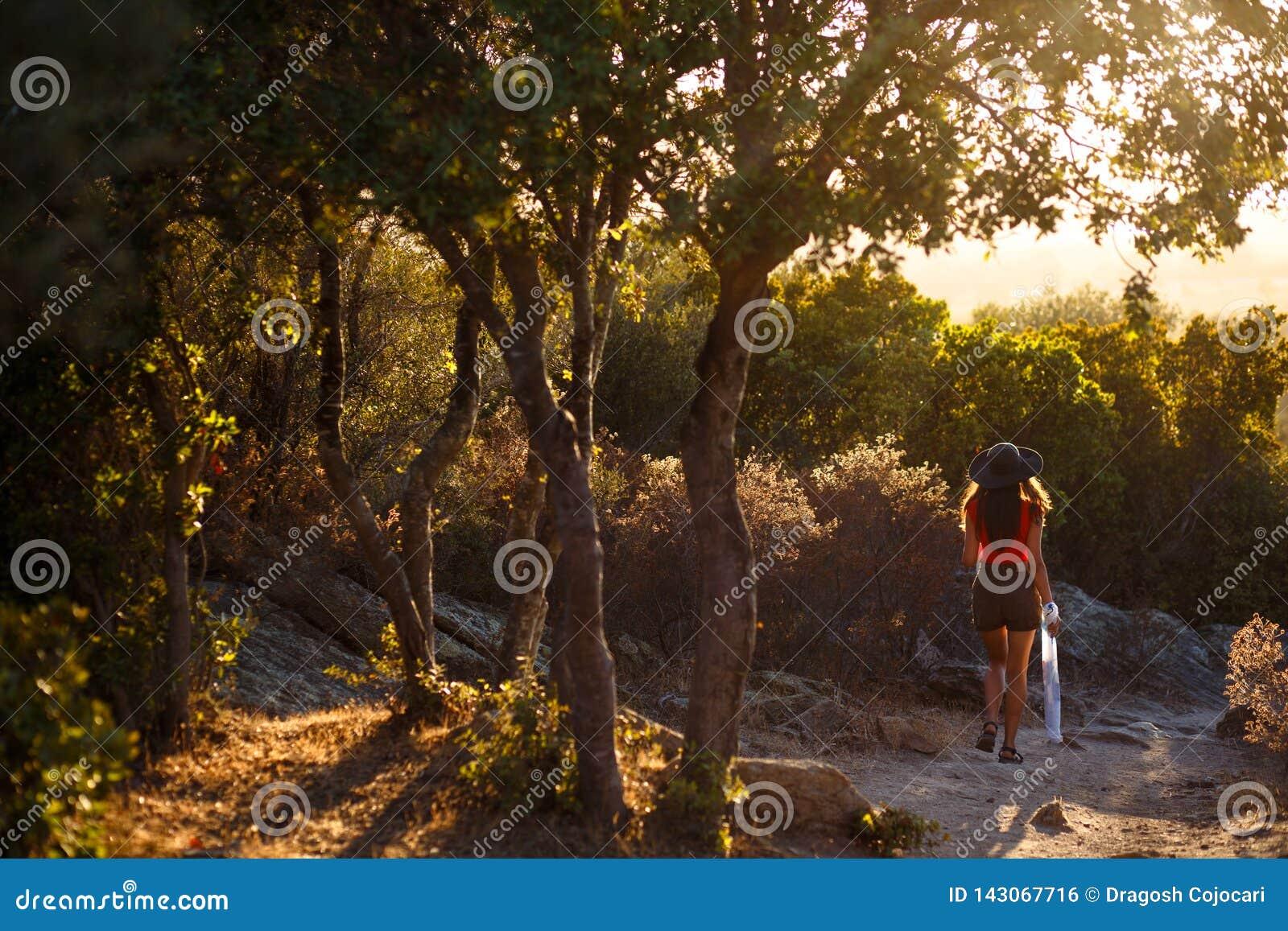 En ung kvinna som tillbaka sitter, i att förbluffa naturen av den Korsika ön, Frankrike baltisk havssolnedgång för bakgrund den k
