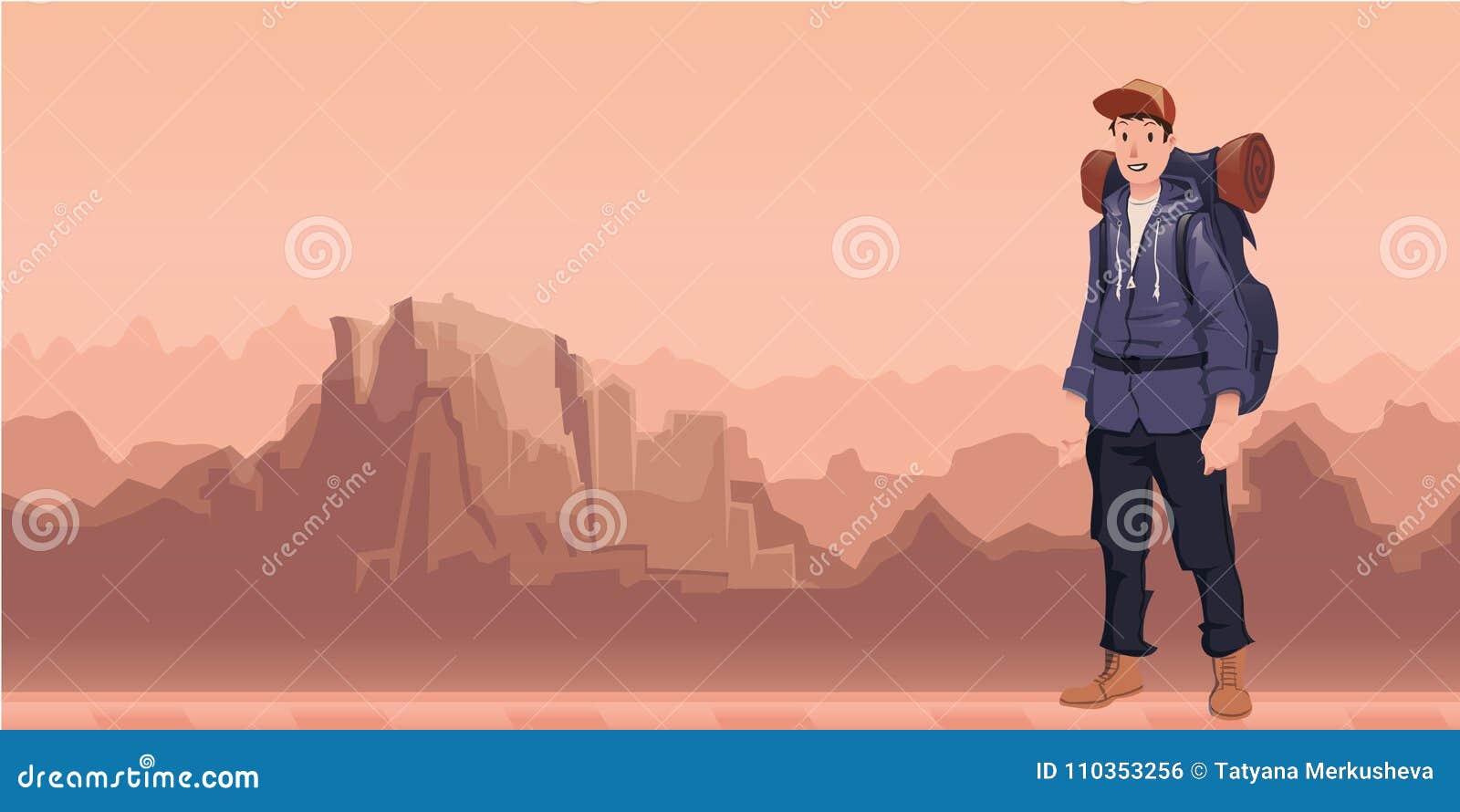 En ung man, fotvandrare i berglandskap Fotvandrare utforskare Vektorillustration med kopieringsutrymme