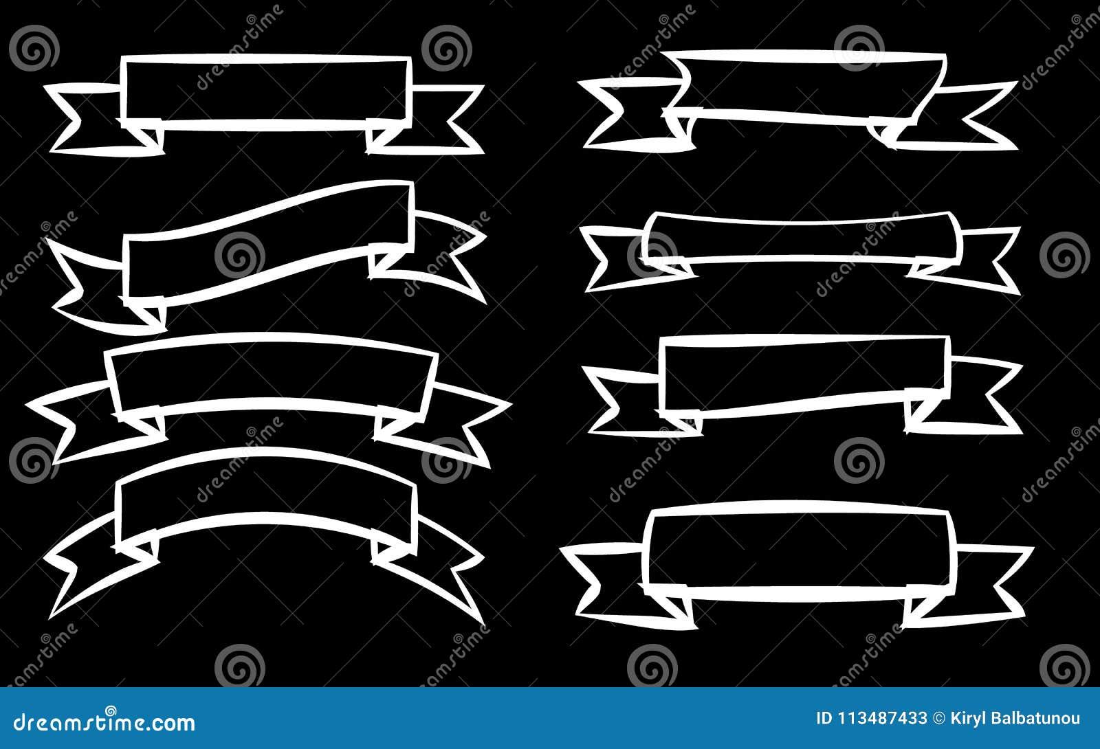 En uppsättning av åtta vita olika band av signageetiketter av etiketter av etiketter i olika stilar på en svart bakgrund