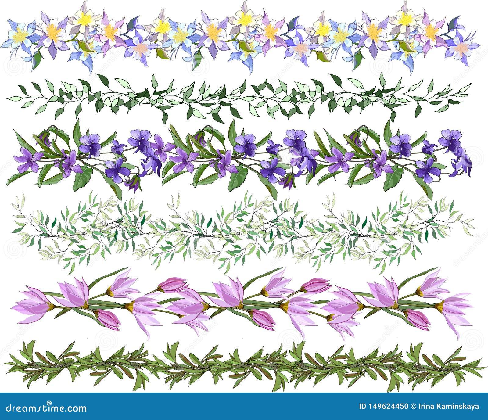 En uppsättning av att blomma vektorborstar En samling av blom- modeller för design, stickade plagg, textiler Handgjorda modeller