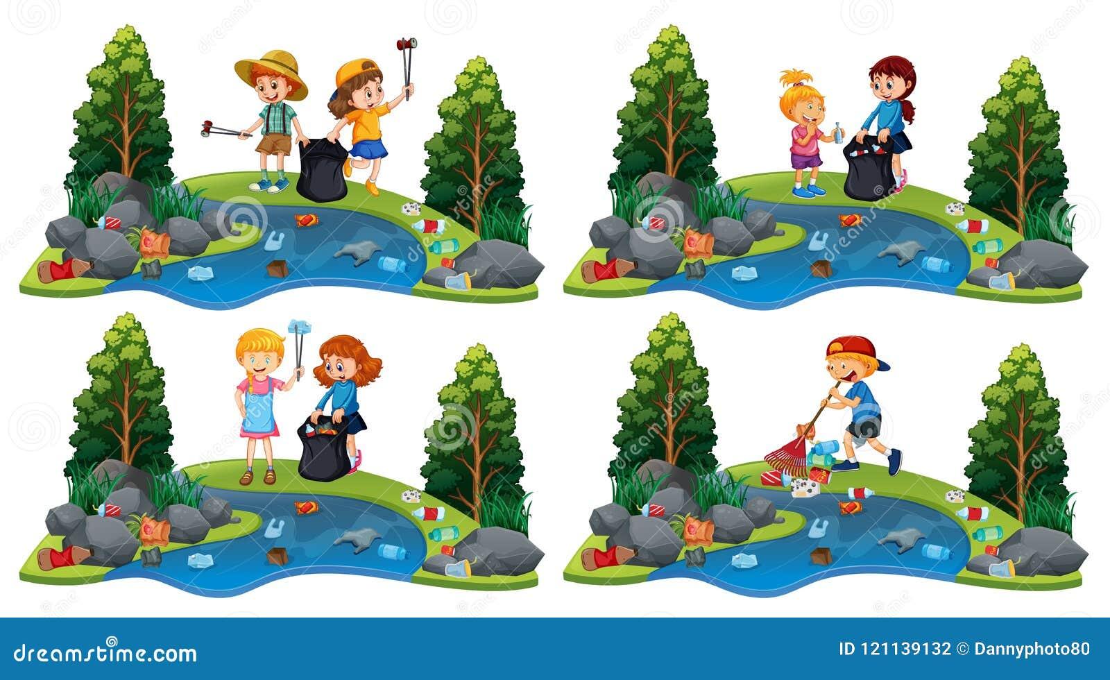 En uppsättning av barn som gör ren floden