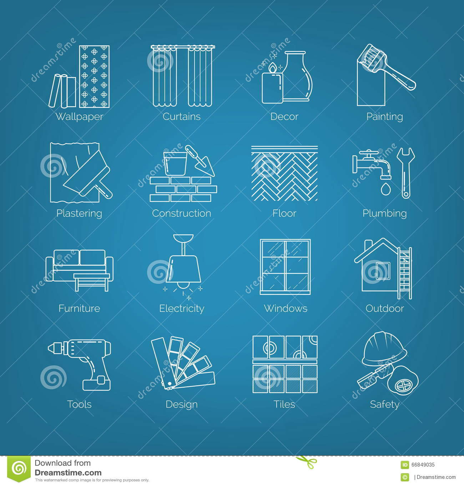 En uppsättning av den tunna linjen symboler för husdesignen, reparation, konstruktion, garnering, renovering Inklusive avgifter a