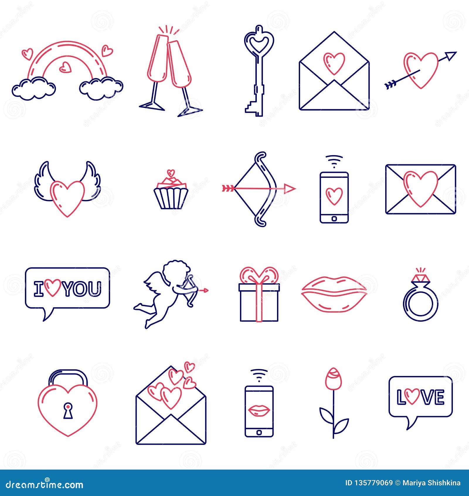 En uppsättning av enkla symboler för valentin dag