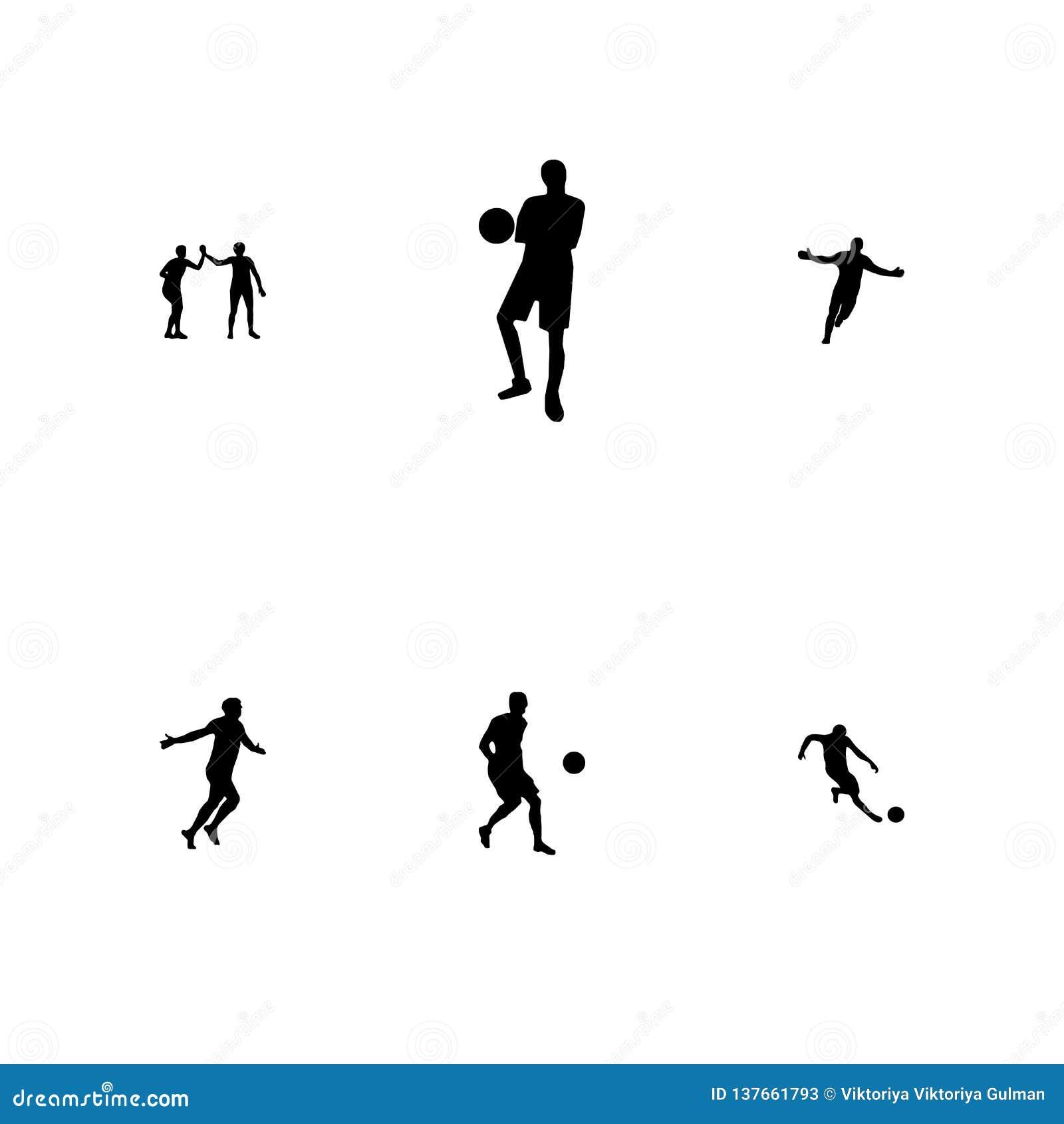 En uppsättning av fotboll för vektorsvartkontur, fotbollspelare