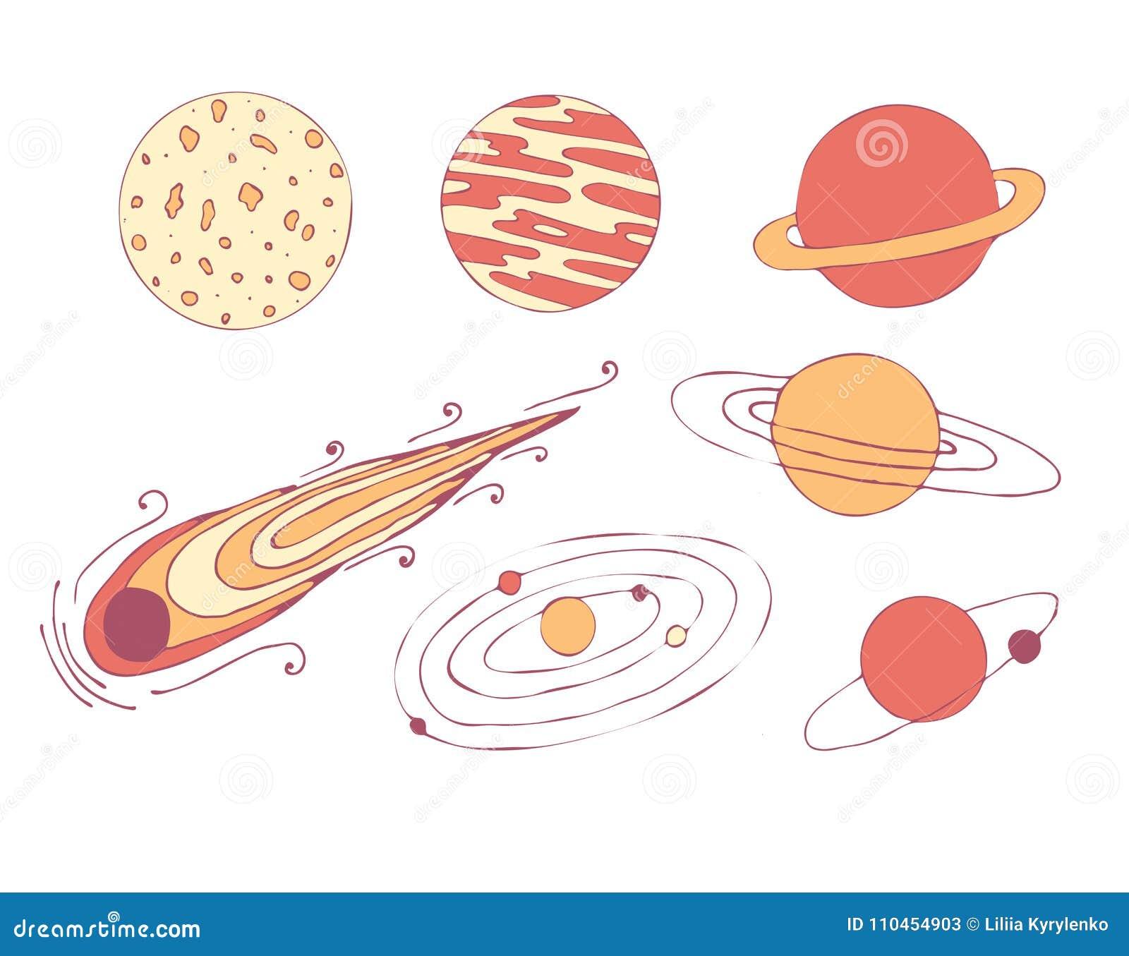En uppsättning av kosmiska planeter, en meteorit och en galax stjärnor för illustrationmoonavstånd