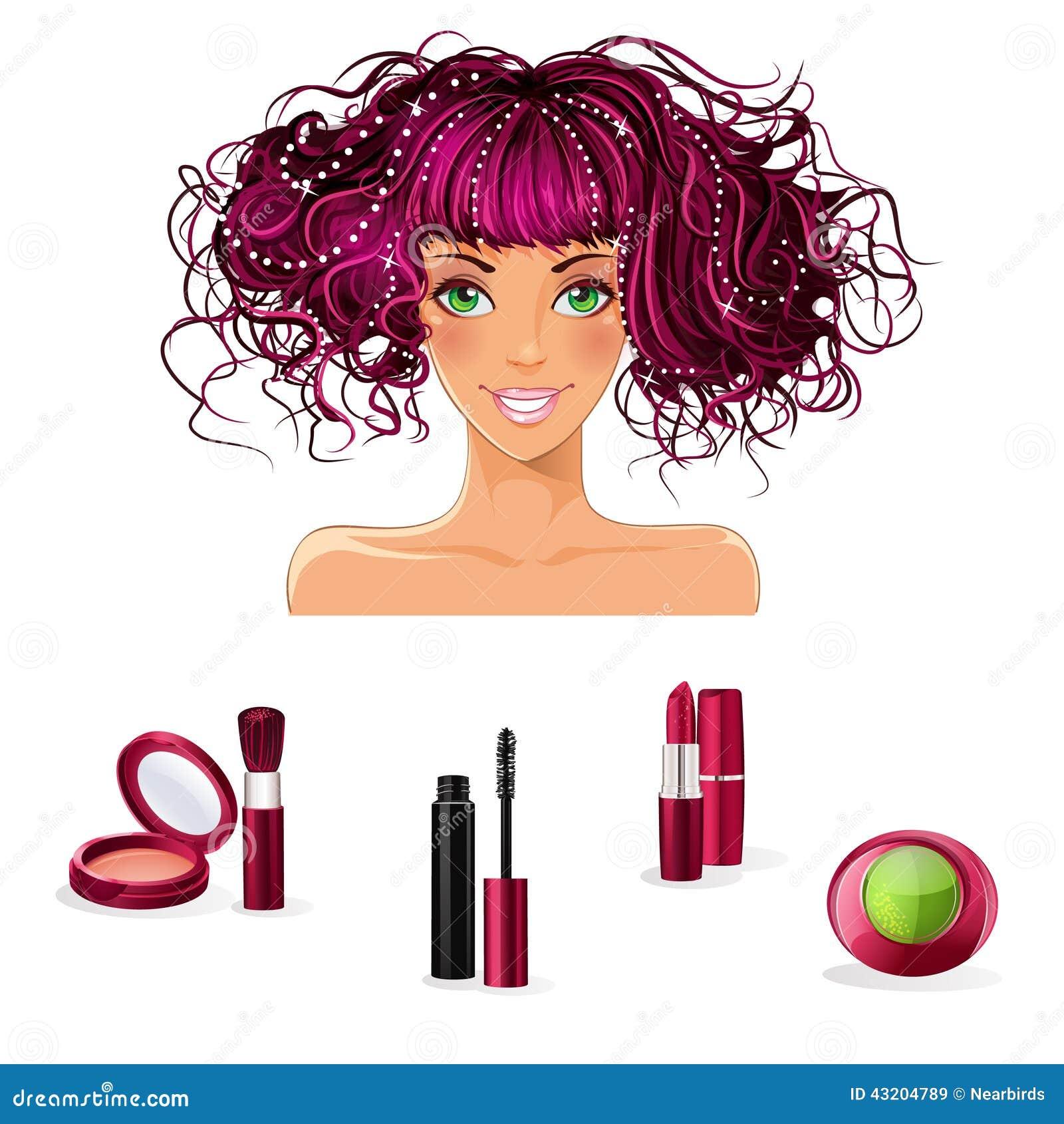 Download En Uppsättning Av Makeup För Flickor Med Gröna ögon Vektor Illustrationer - Illustration av kanter, makeup: 43204789