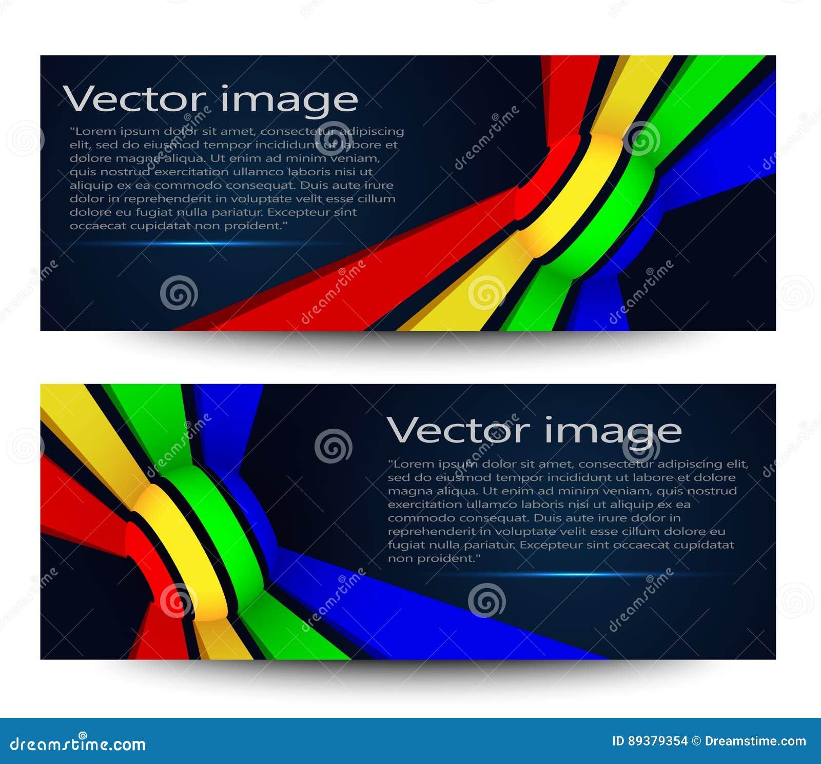 En uppsättning av moderna ljusa baner också vektor för coreldrawillustration