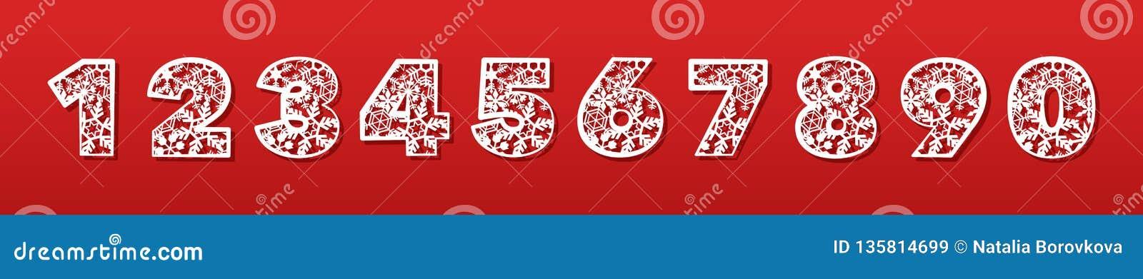 En uppsättning av nummer för laser-klipp av papper, papp, plast- Trendigt dekorativt alfabet konturklipp