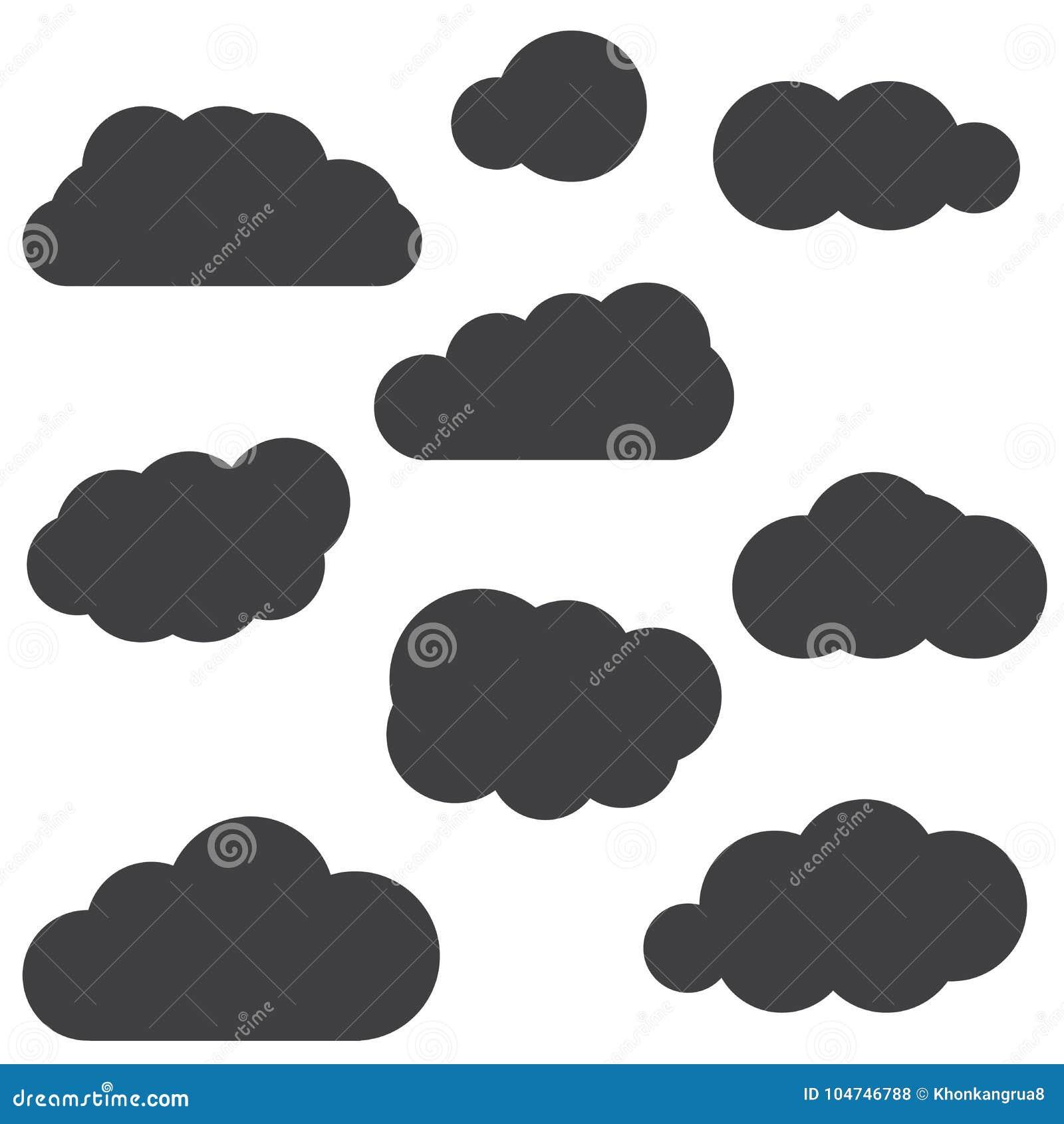En uppsättning av symboler för svart moln i ett moderiktigt plant tema som isoleras från