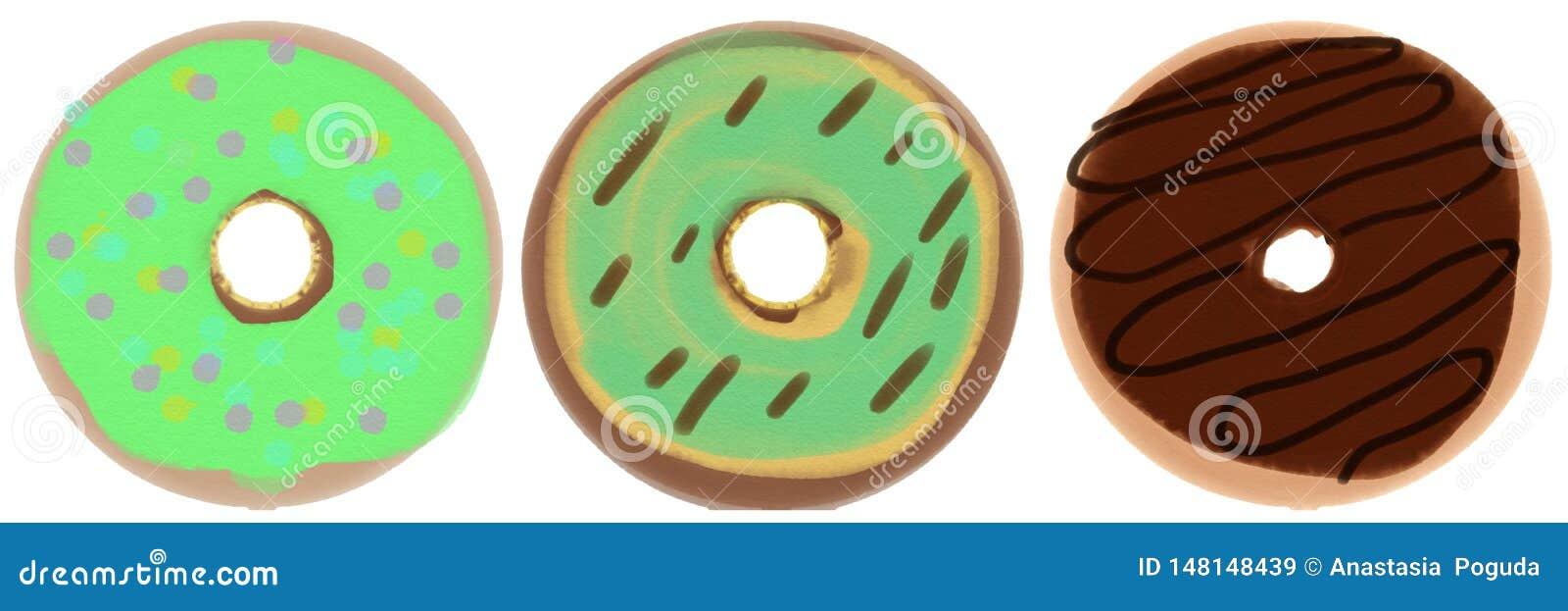 En uppsättning av tre donuts med gräsplan och chokladisläggning Rasterillustration f?r design