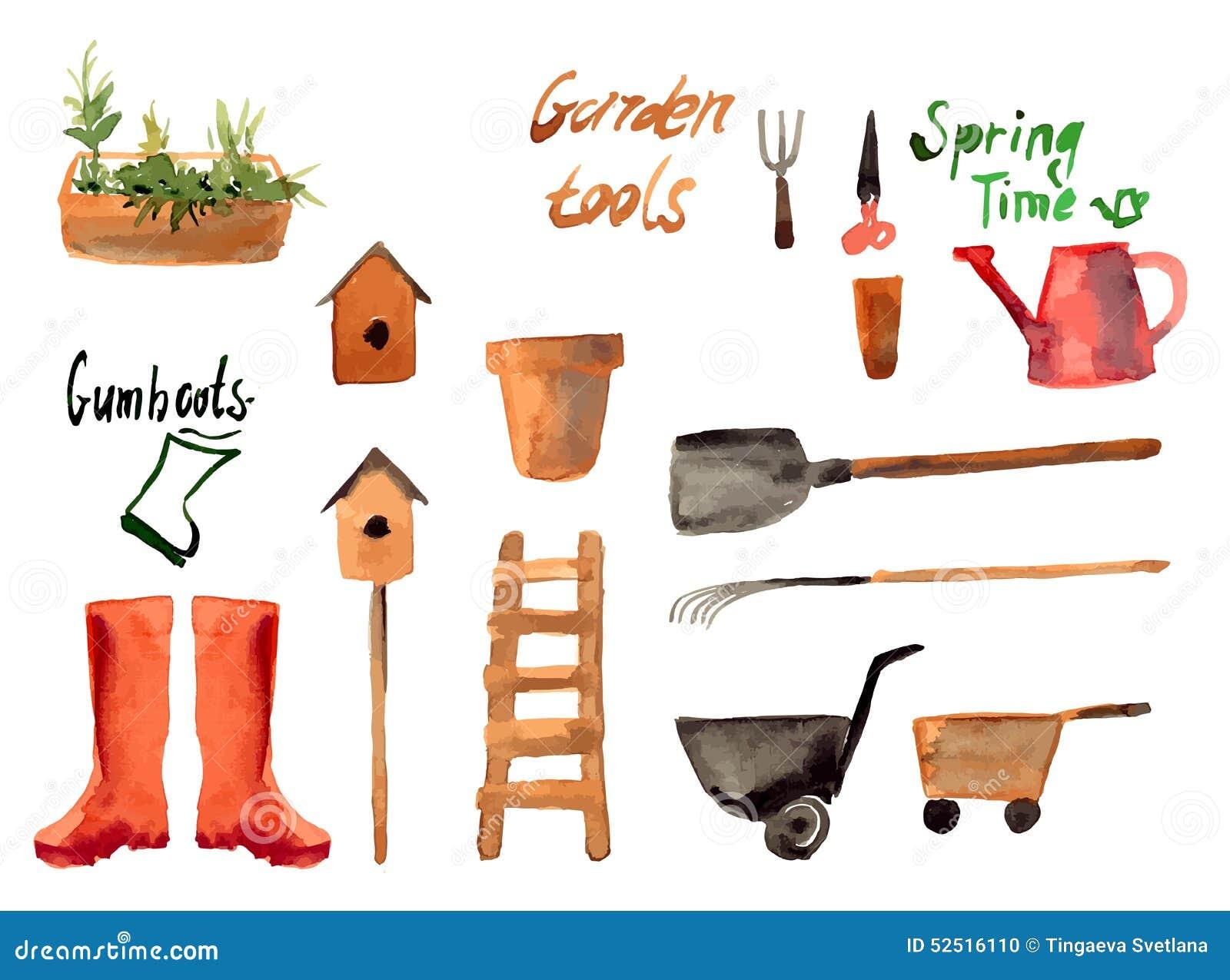 En uppsättningvattenfärg av att arbeta i trädgården hjälpmedlet